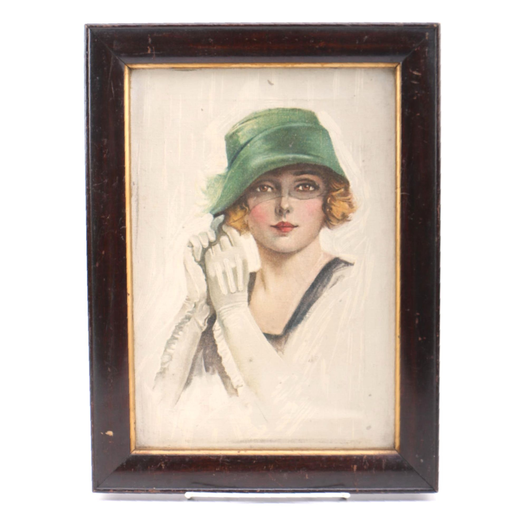 Oil on Canvas Portrait of a Woman with Green Hat