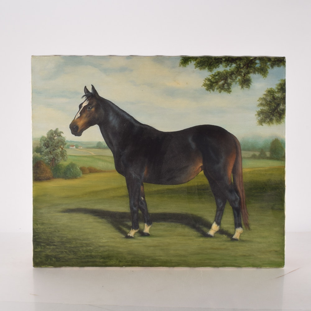 Vintage Equestrian Oil Painting on Canvas