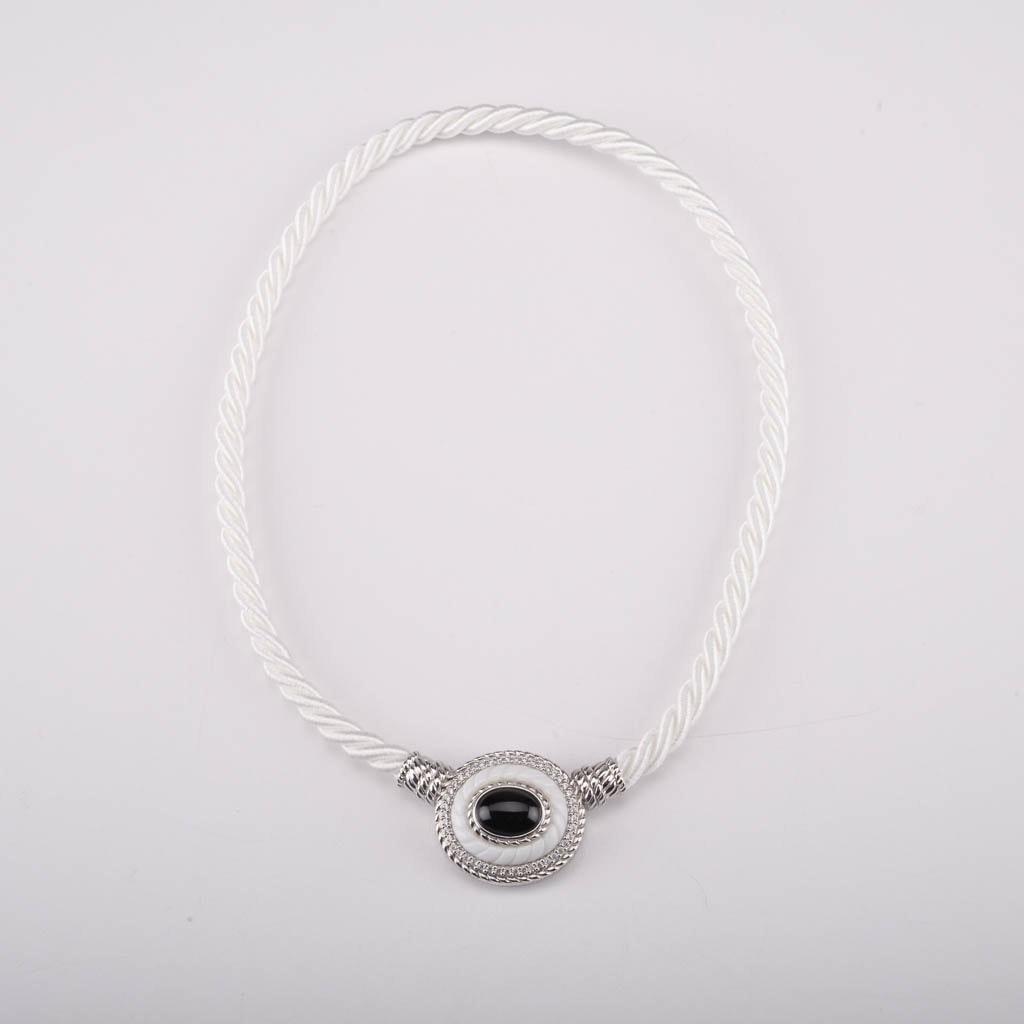 Judith Ripka Black and White Onyx Sterling Silver Corded Necklace