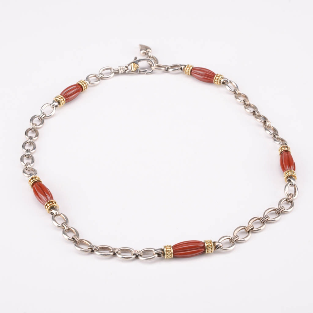 Caviar by Lagos Sterling Silver and 18K Jasper Necklace
