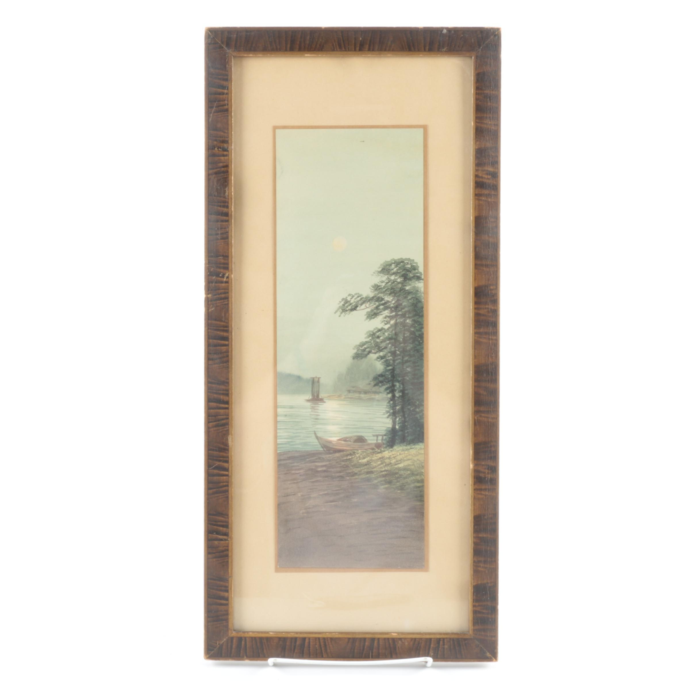 Framed Watercolor of Boats in the Water