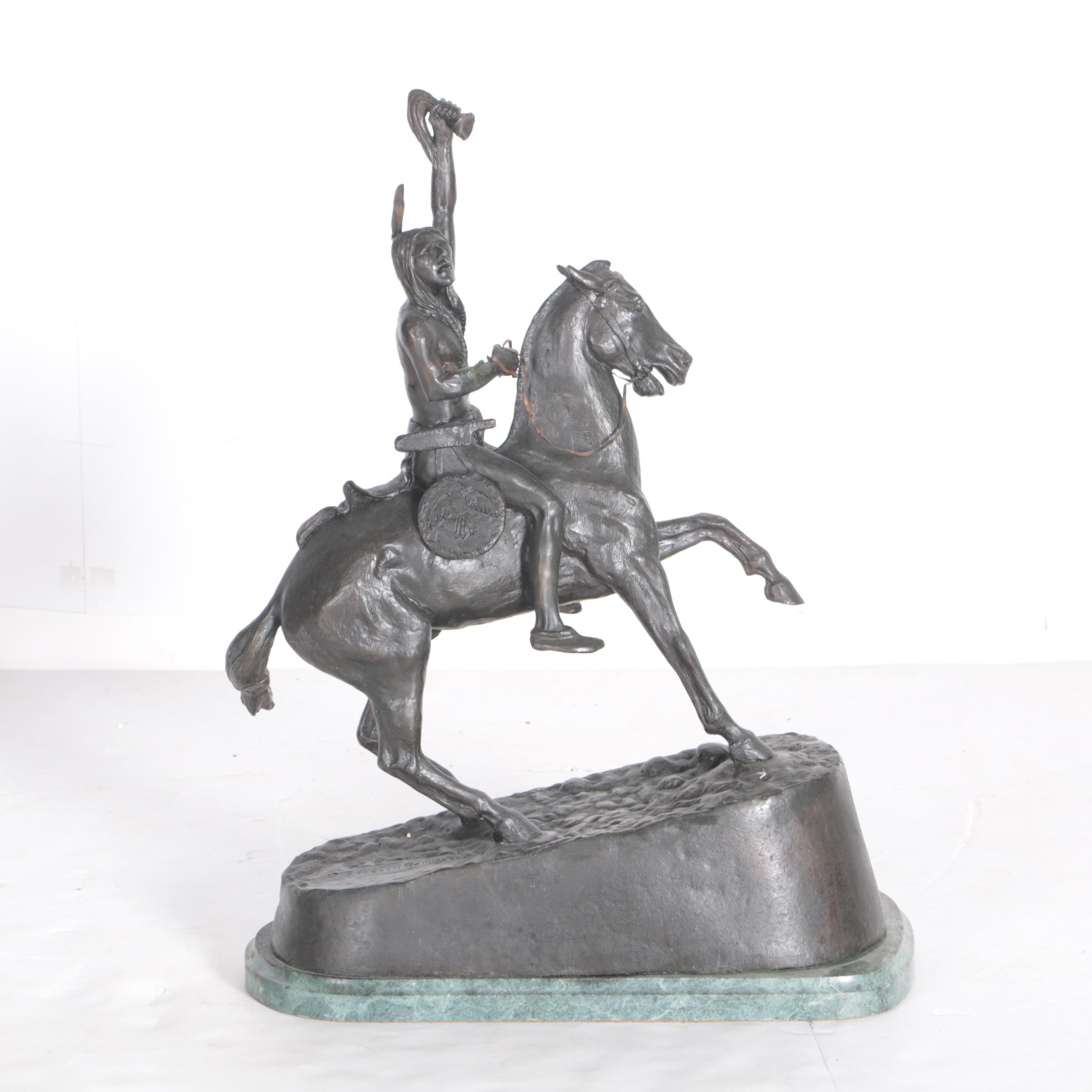 "Reproduction Sculpture After Frederic S. Remington's ""The Scalp"""