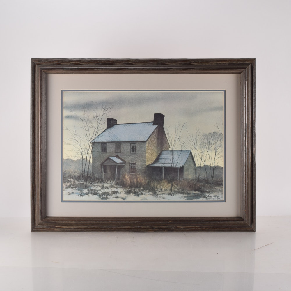 """After Harold Collins Signed Limited Edition Offset Lithograph """"Old Home Place"""""""