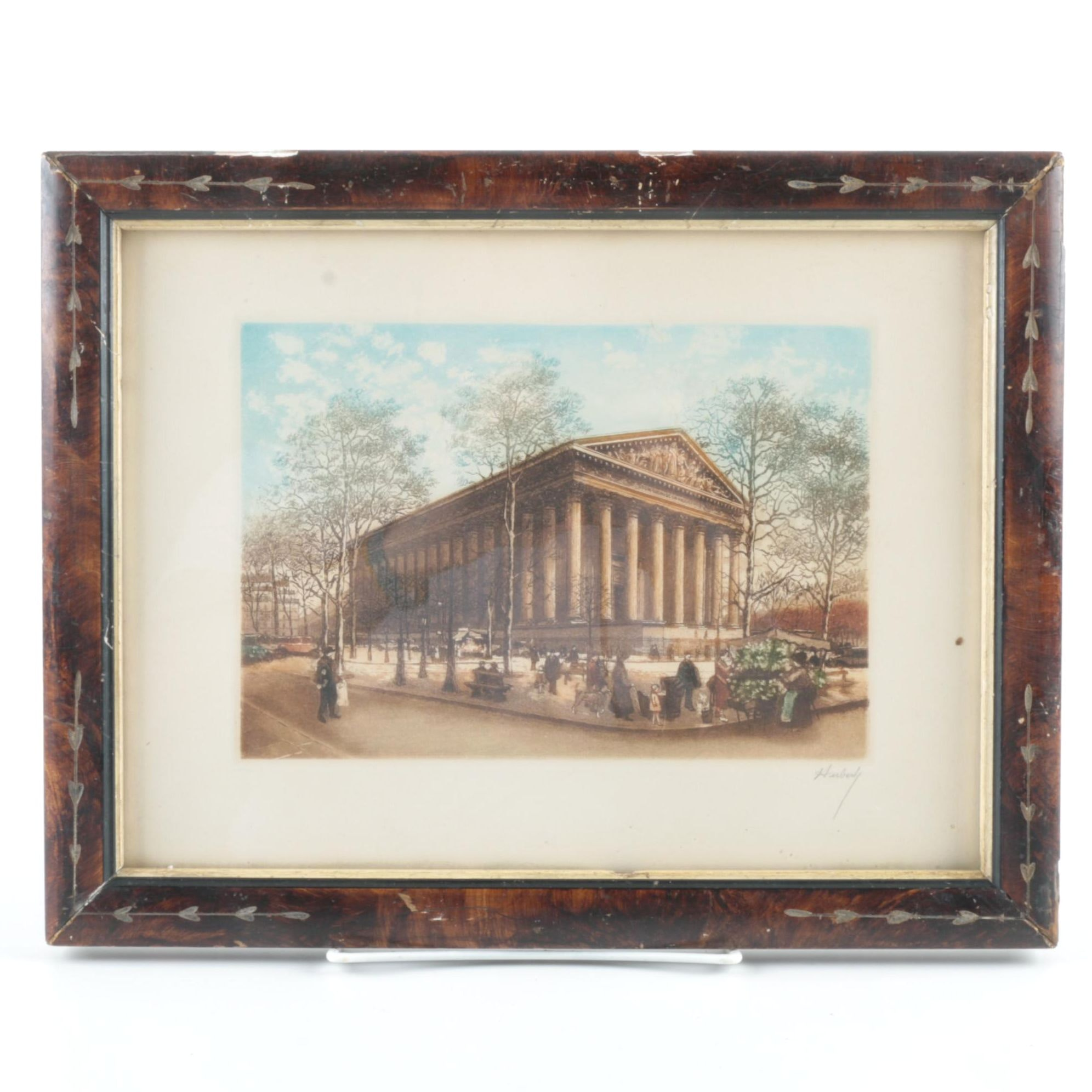 Huberly Aquatint Etching on Paper Classical Architecture Street Scene