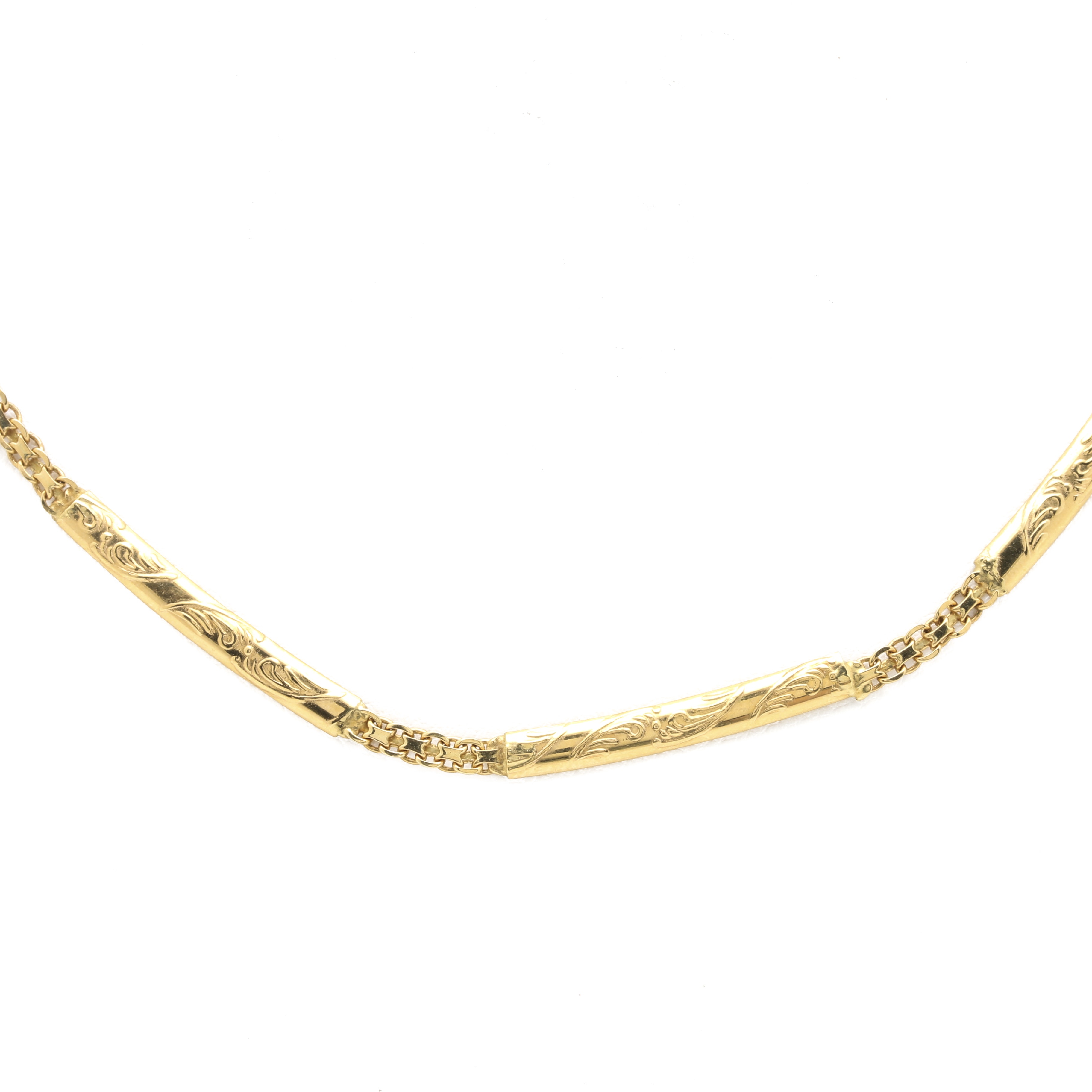 18K Yellow Gold Fancy Link Necklace With 14K Clasp