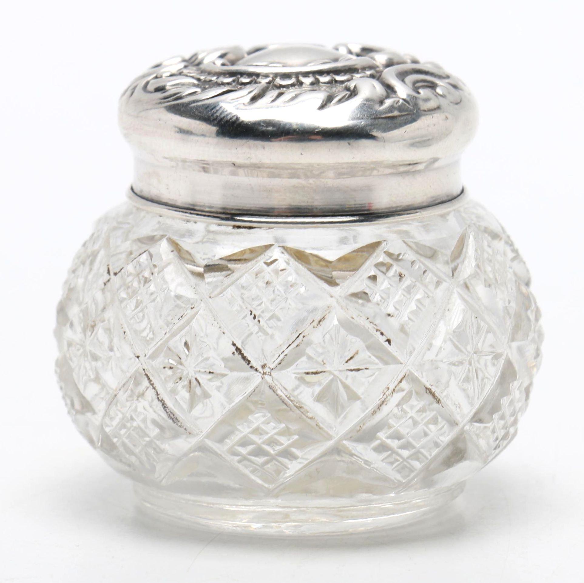 Antique Adie & Lovekin Ltd. Sterling Silver Lidded Glass Jar