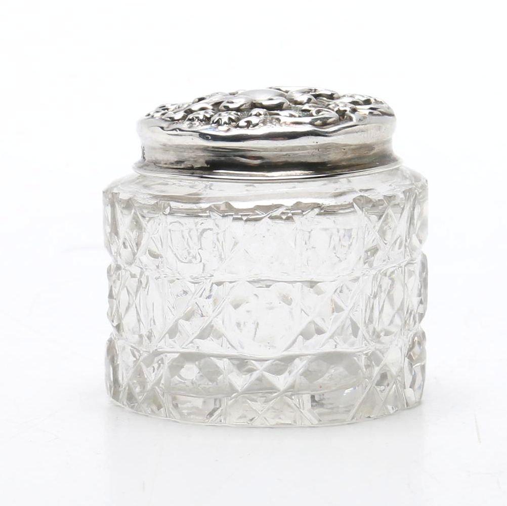 Antique Sterling Silver Lidded Glass Jar