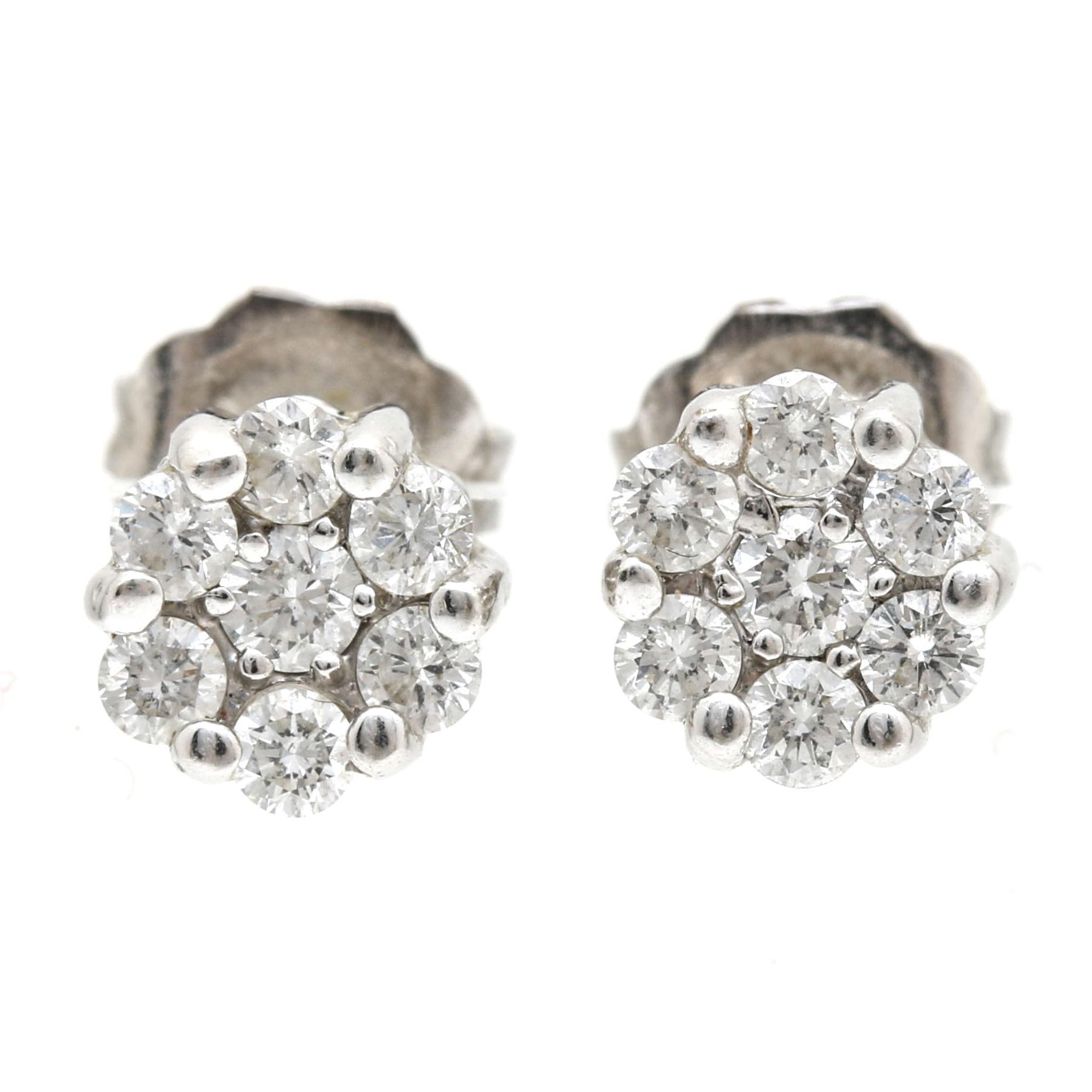 14K White Gold Diamond Floral Earrings