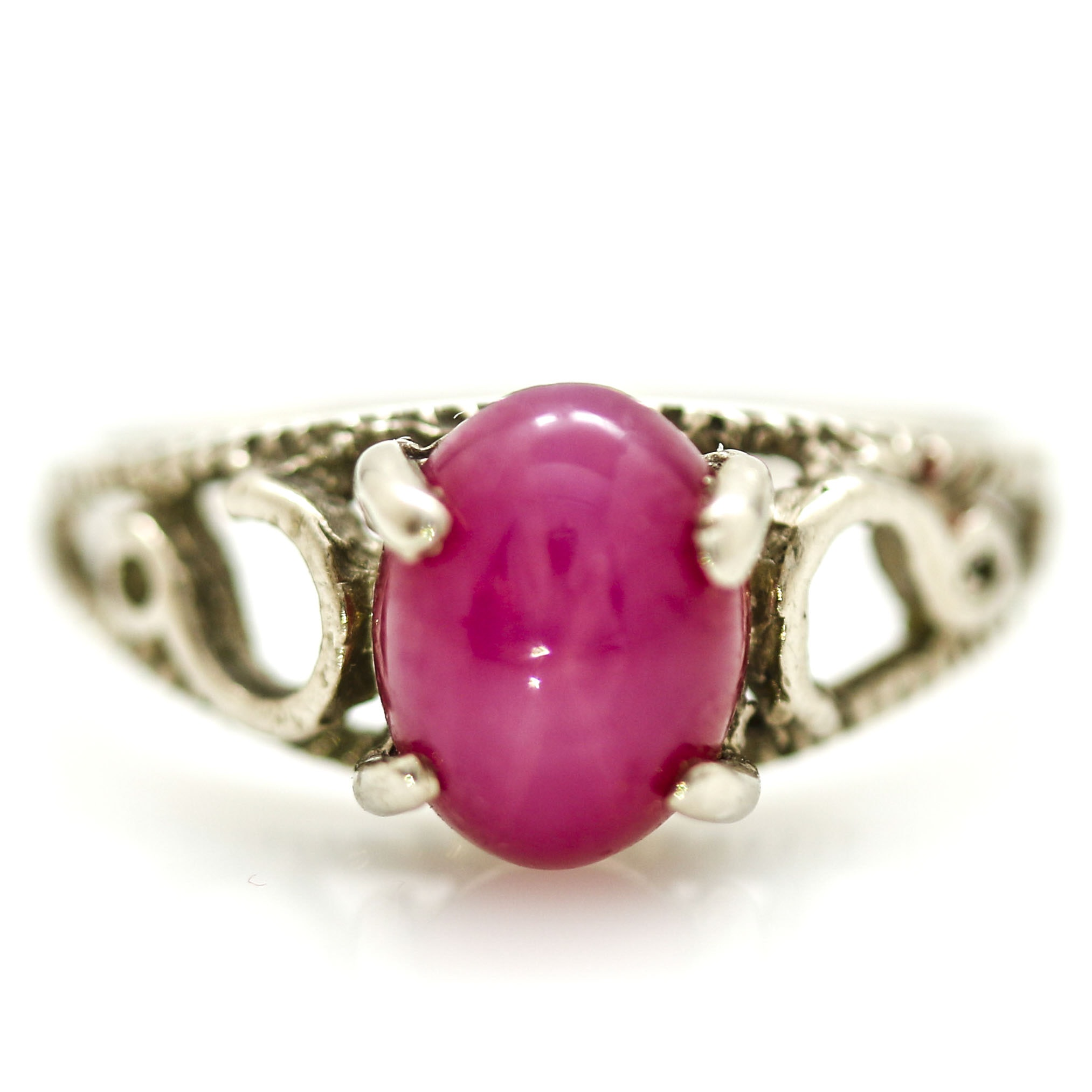14K White Gold Star Ruby Ring