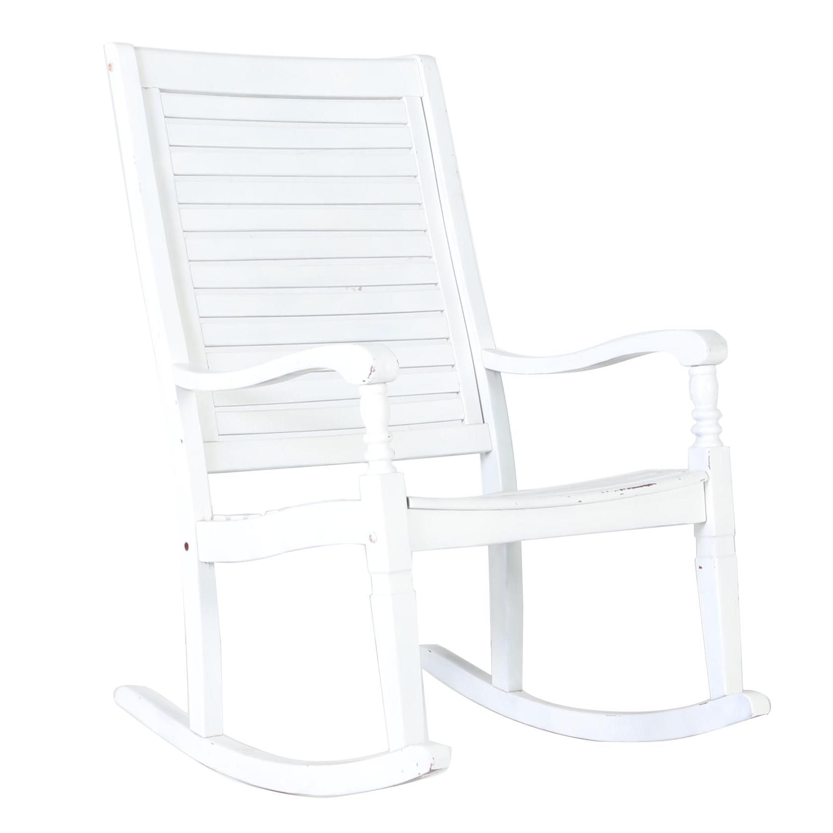 Large White Outdoor Rocking Chair