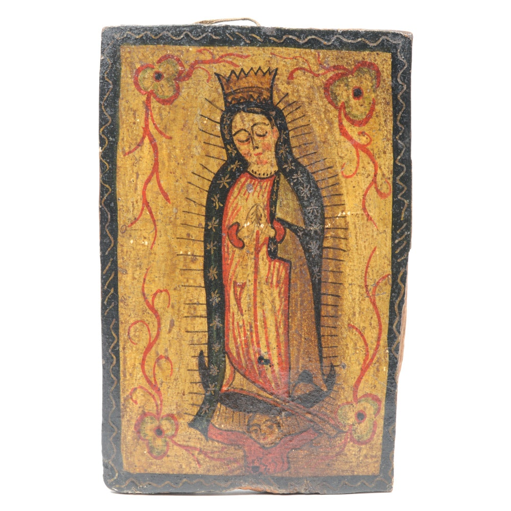 Antique Spanish Colonial Retablo of the Virgin of Guadalupe