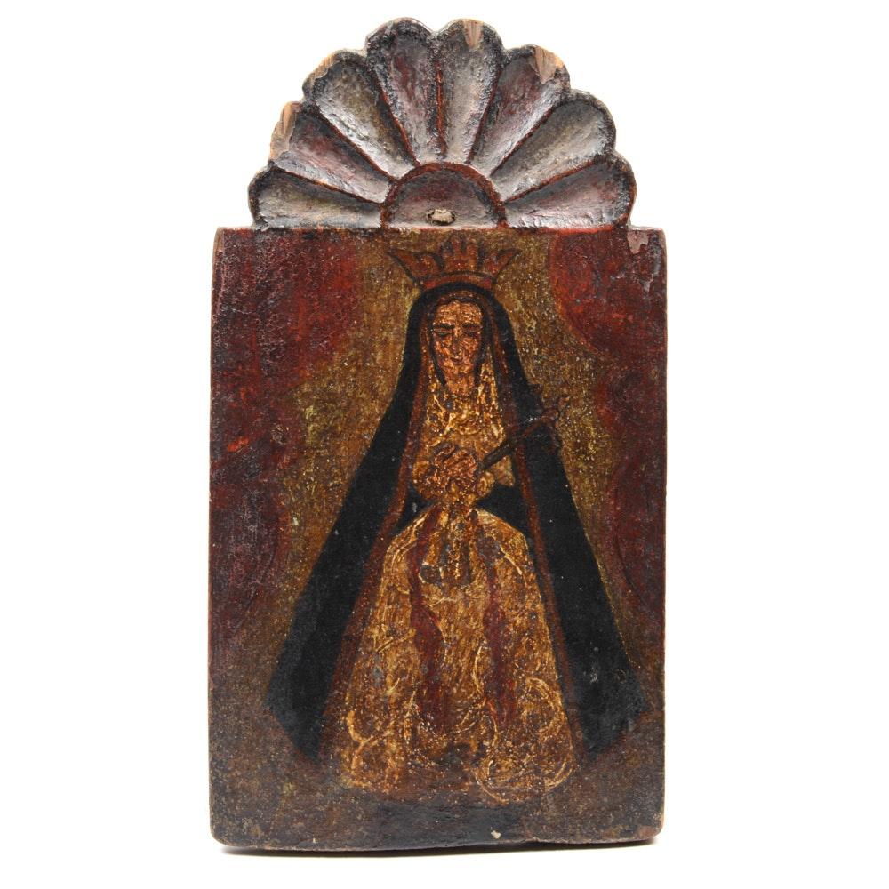 Excellent Retablo of Nuestra Señora de los Dolores
