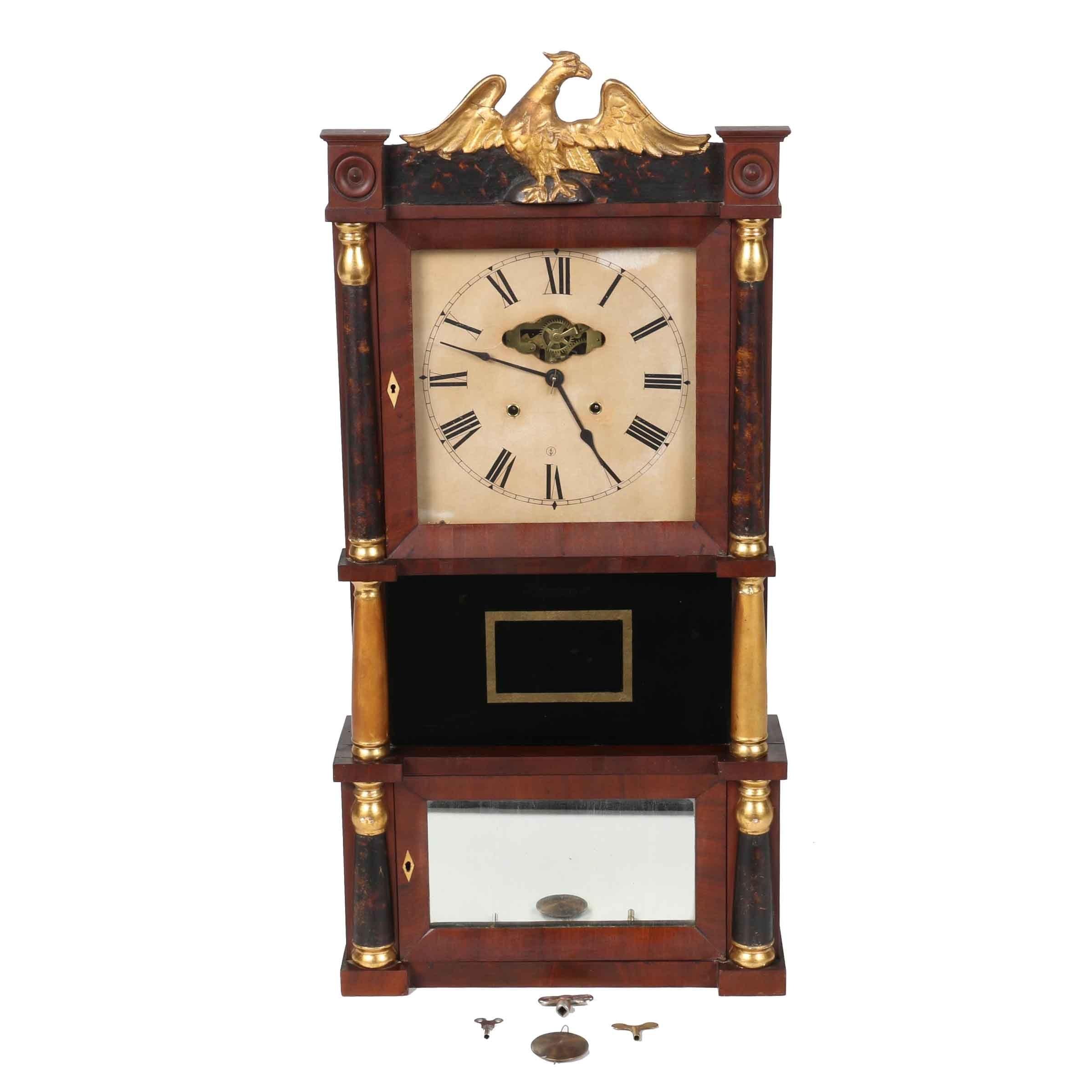 Mid 19th Century C. & L. C. Ives Mahogany Triple Decker Brass Eight Day Clock