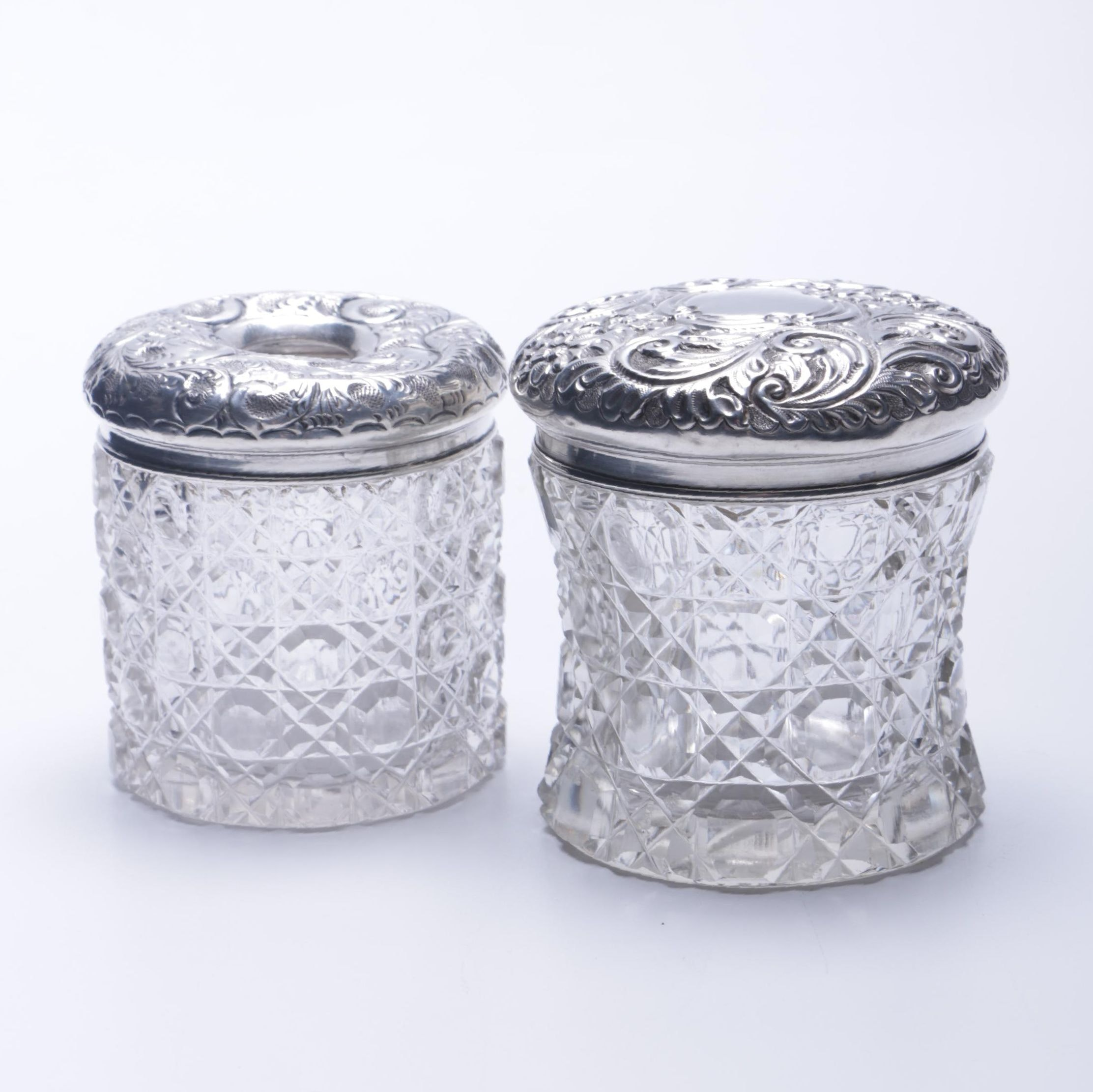 A.W. Pennington Sterling and Crystal Vanity Jar With Additional Vessel