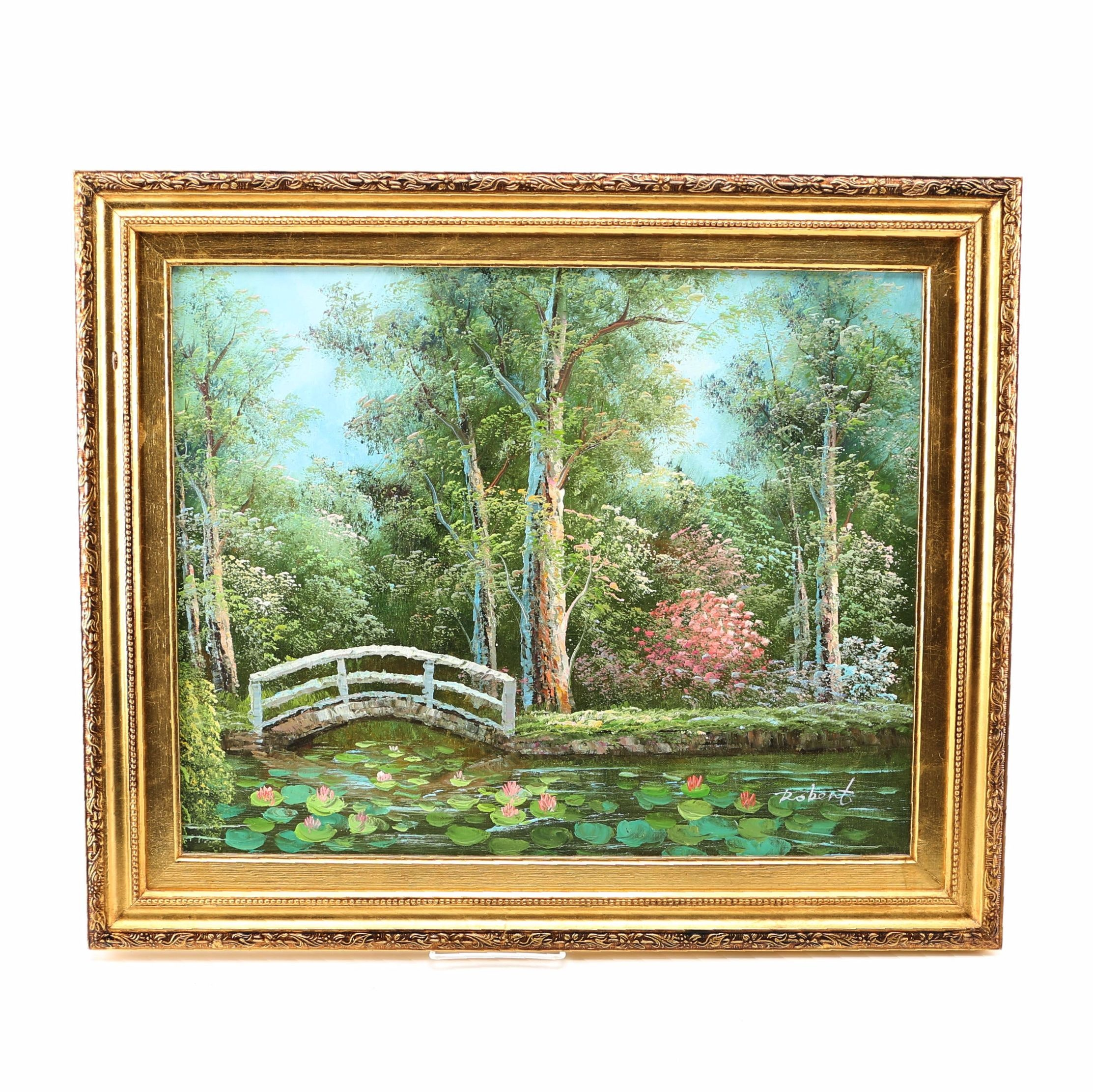 """Oil Painting on Canvas Inspired by Monet's """"The Japanese Bridge"""""""