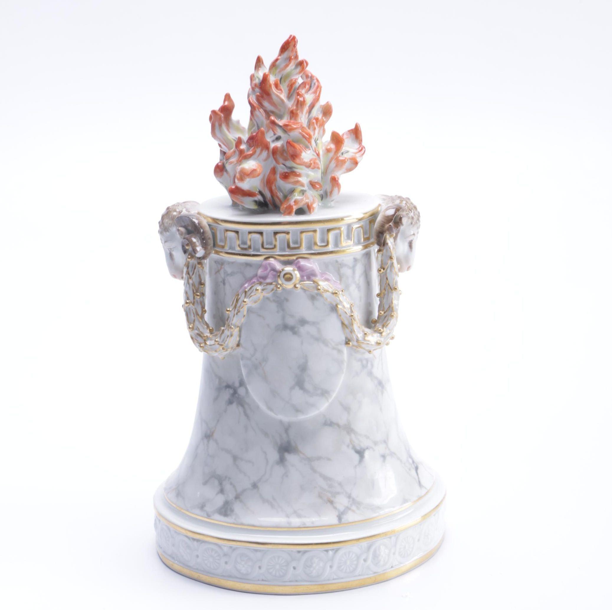 18th Century Doccia Porcelain Flame Pedestal