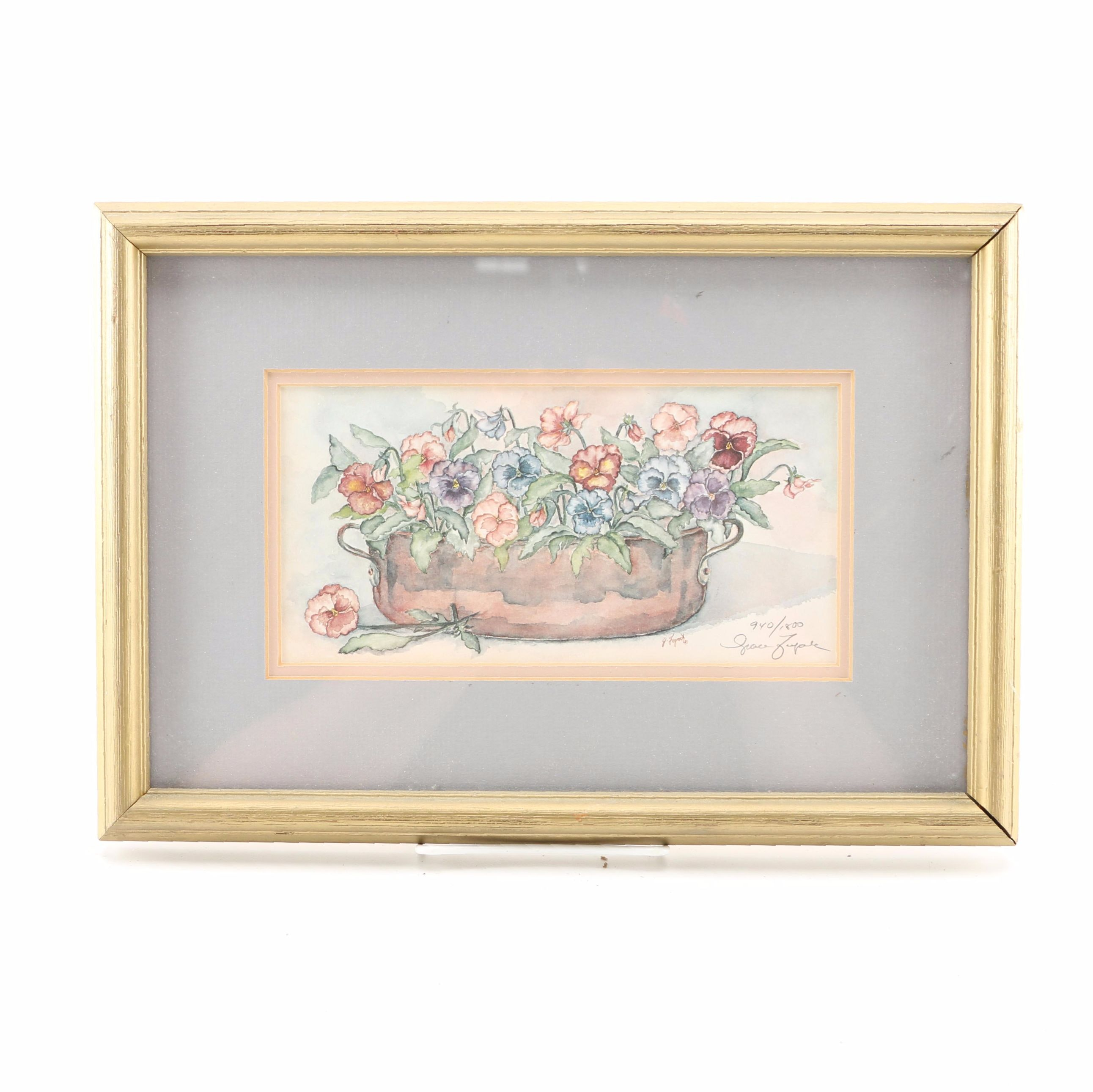"""Grace Feyock Limited Edition Offset Lithograph """"Pansies"""""""