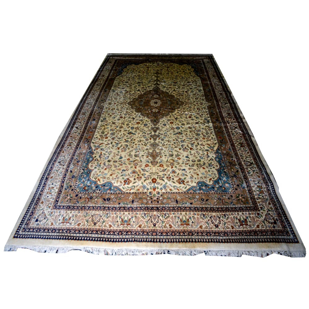 Vintage Hand-Knotted Indo-Persian Tabriz Wool Rug