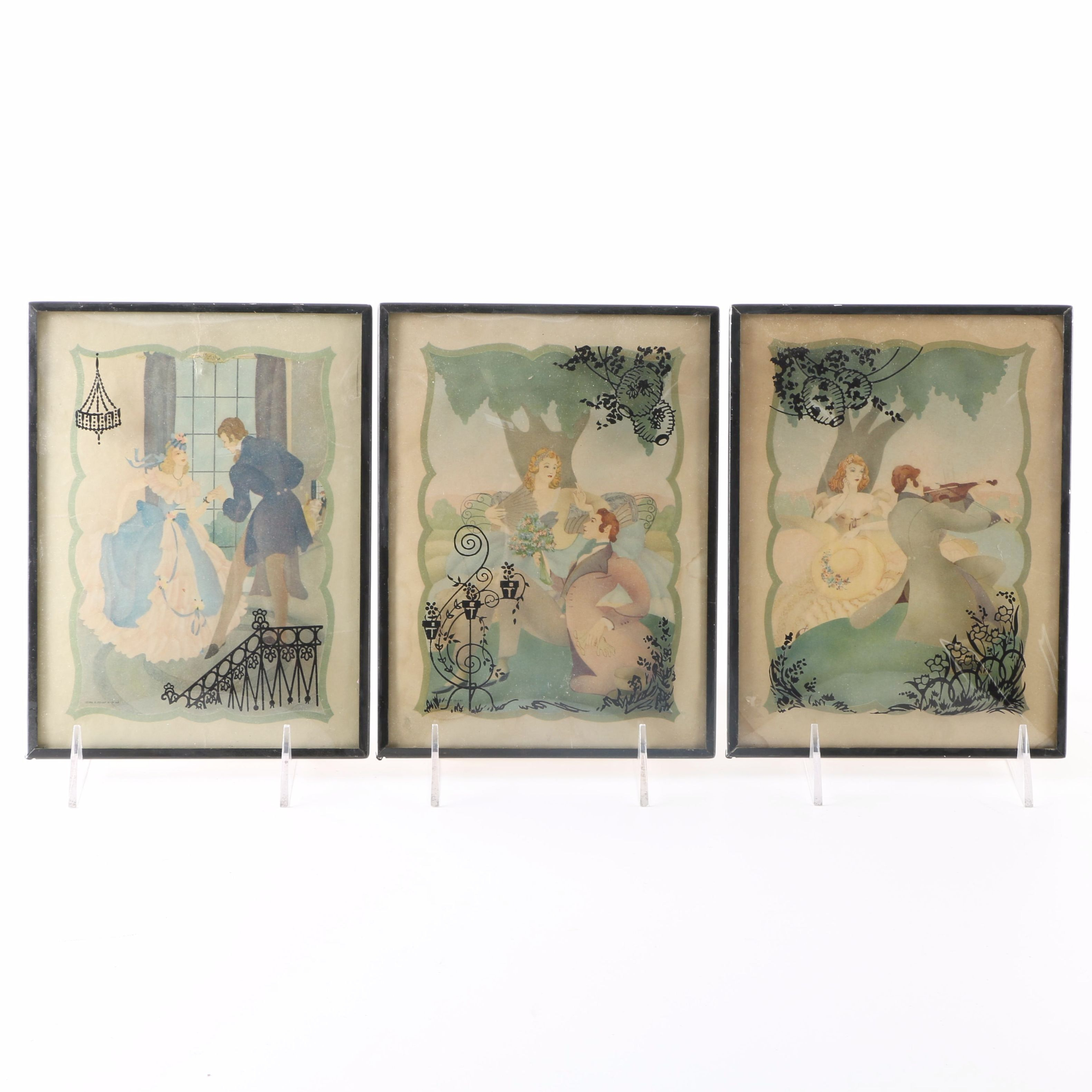 Art Deco Style Offset Lithographs With Reverse Painted Bubble Glass