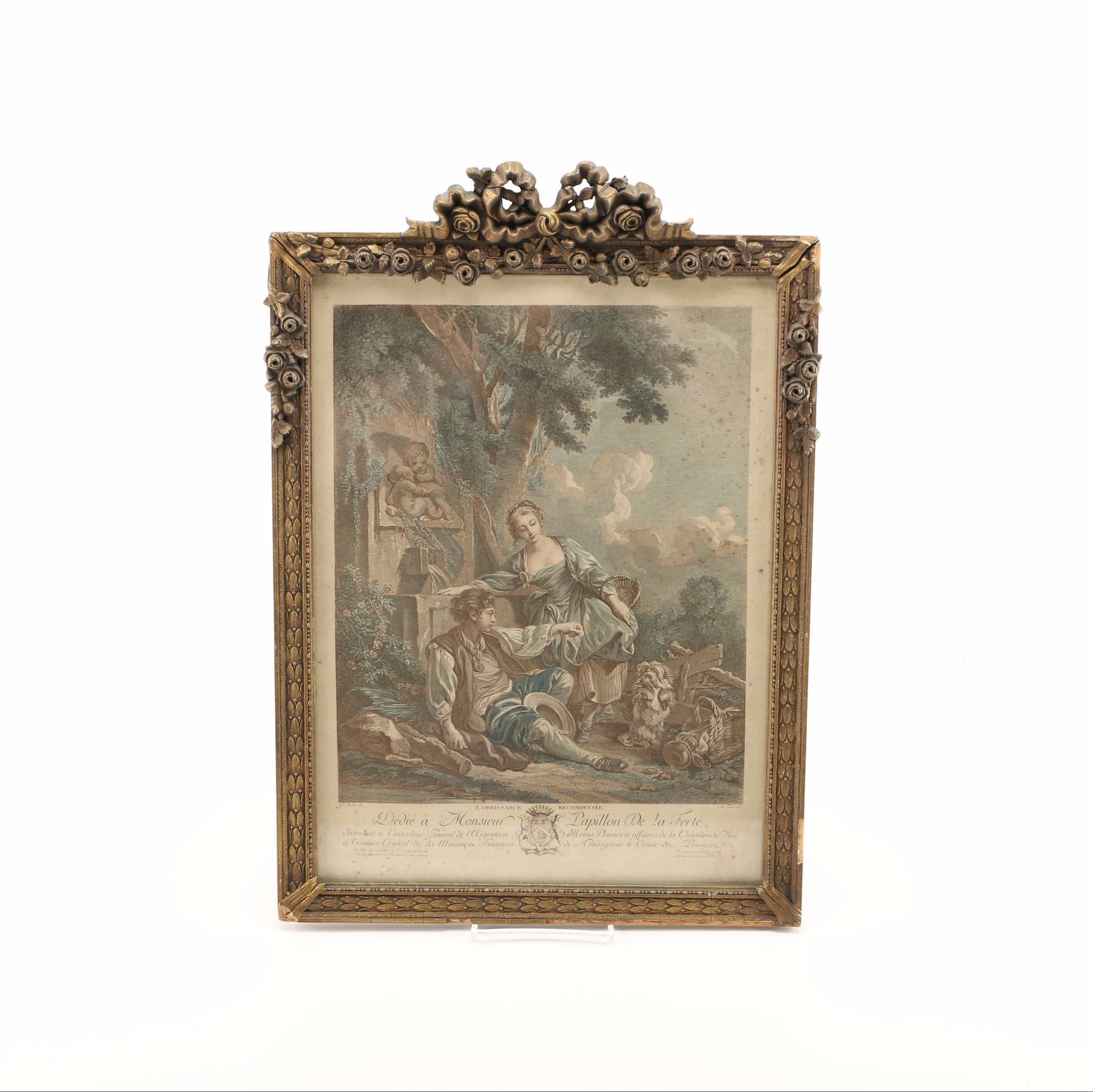 """Hand-Colored Lithograph Print on Paper after François Boucher """"l'Obeissance Recompensee"""""""