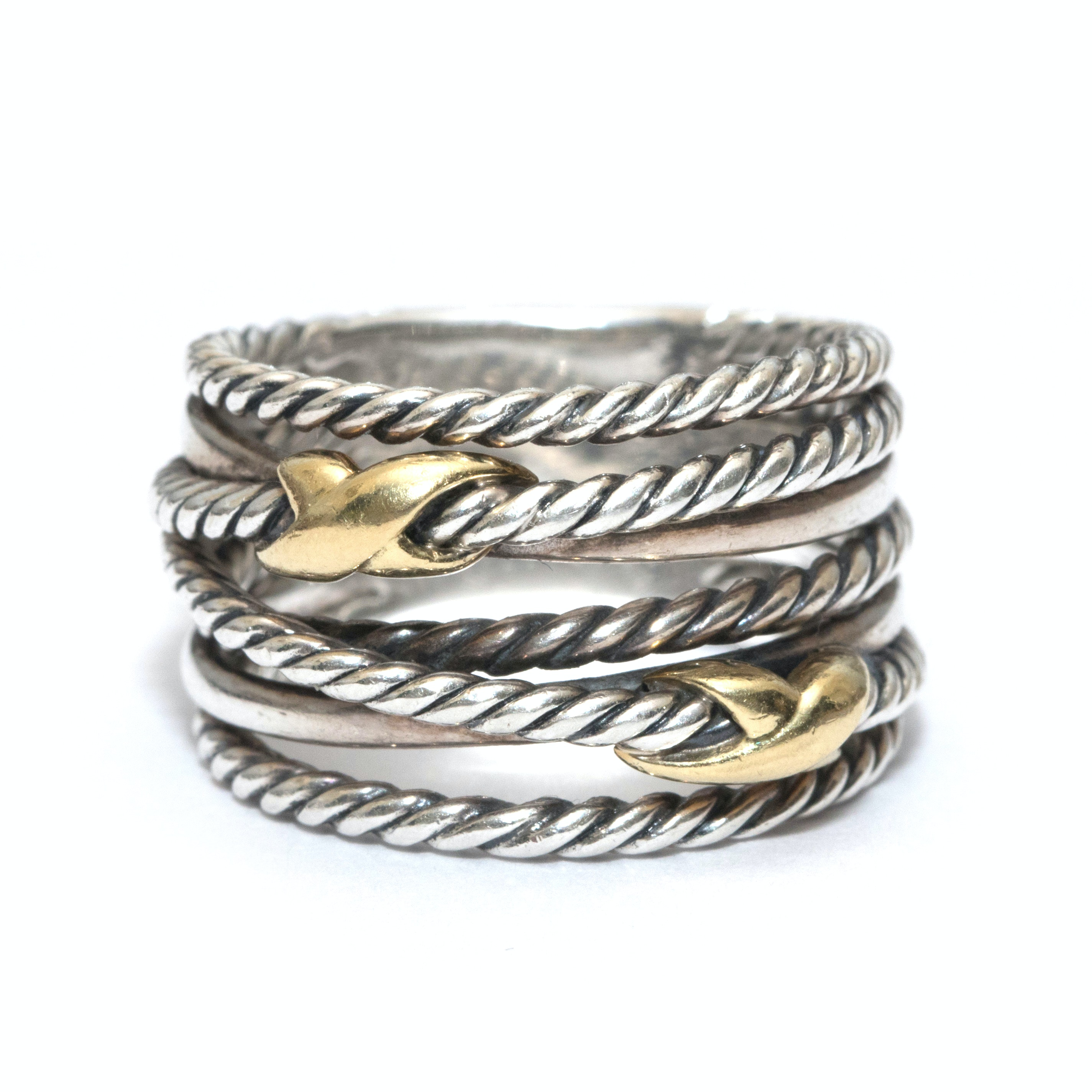 David Yurman Sterling Silver and 18K Yellow Gold Double-X Crossover Ring