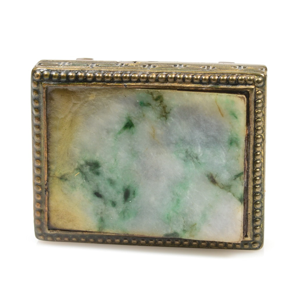 Chinese Jadeite and Brass Buckle