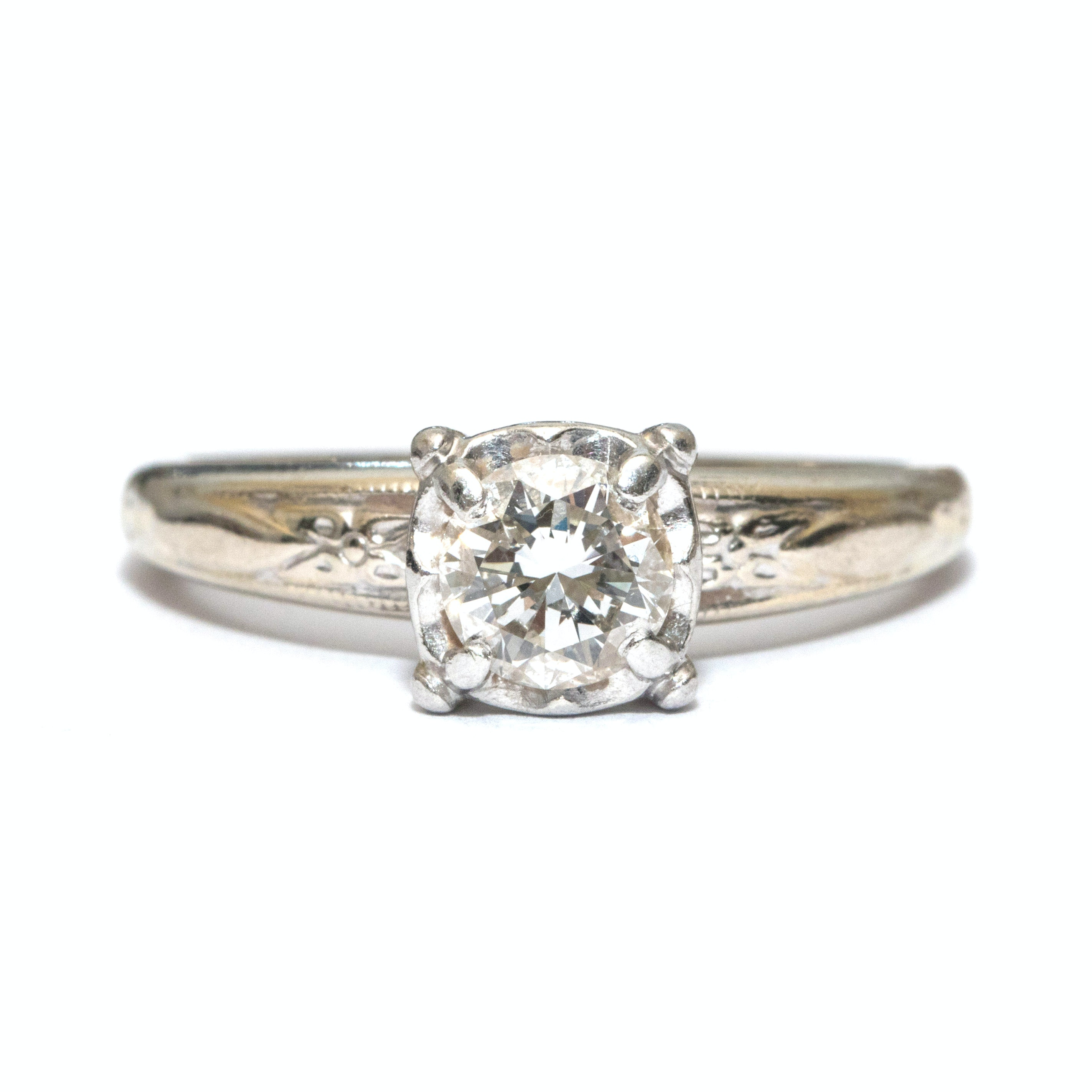 14K Platinum and Diamond Solitaire Engagement Ring