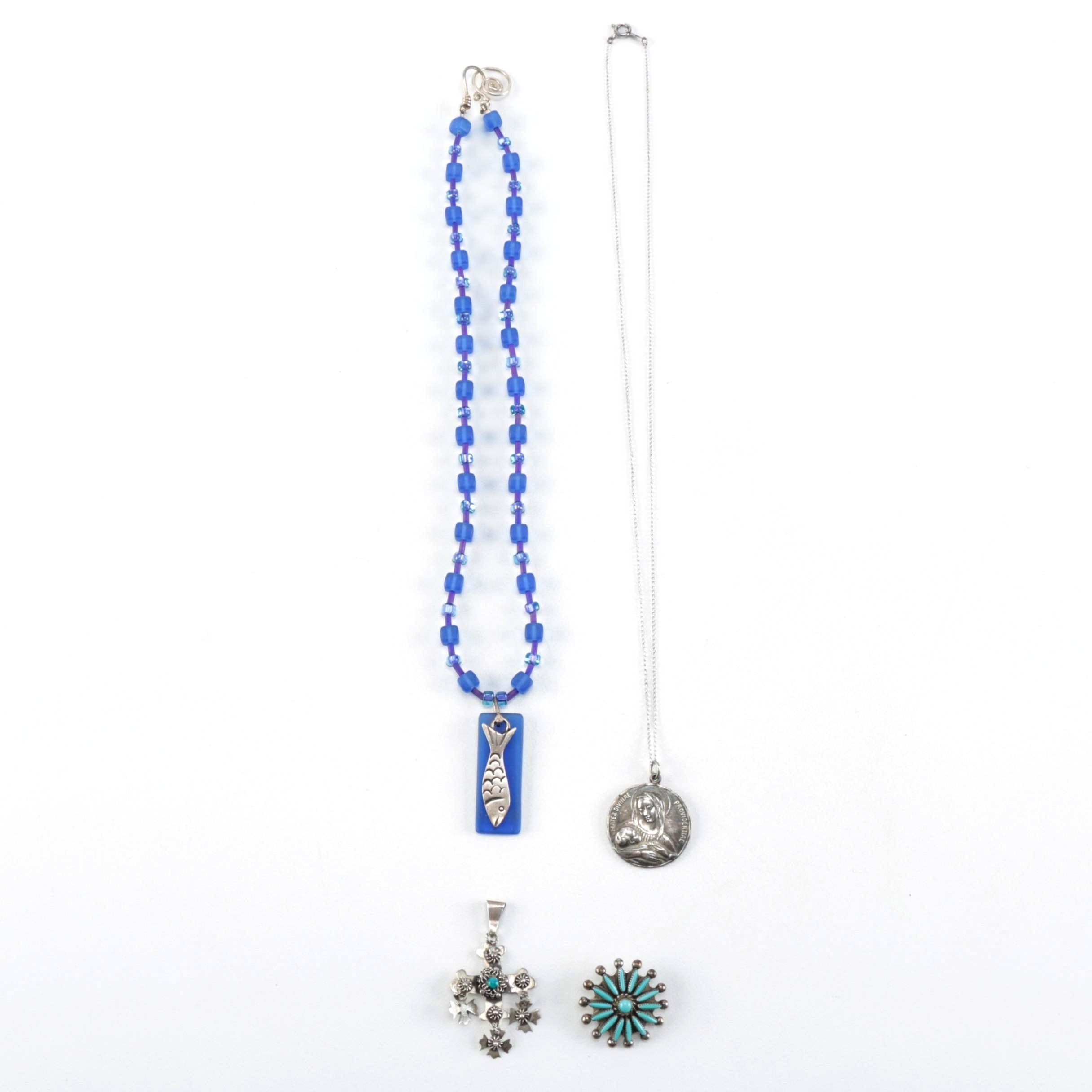 Sterling Silver Jewelry With Religious Pendants