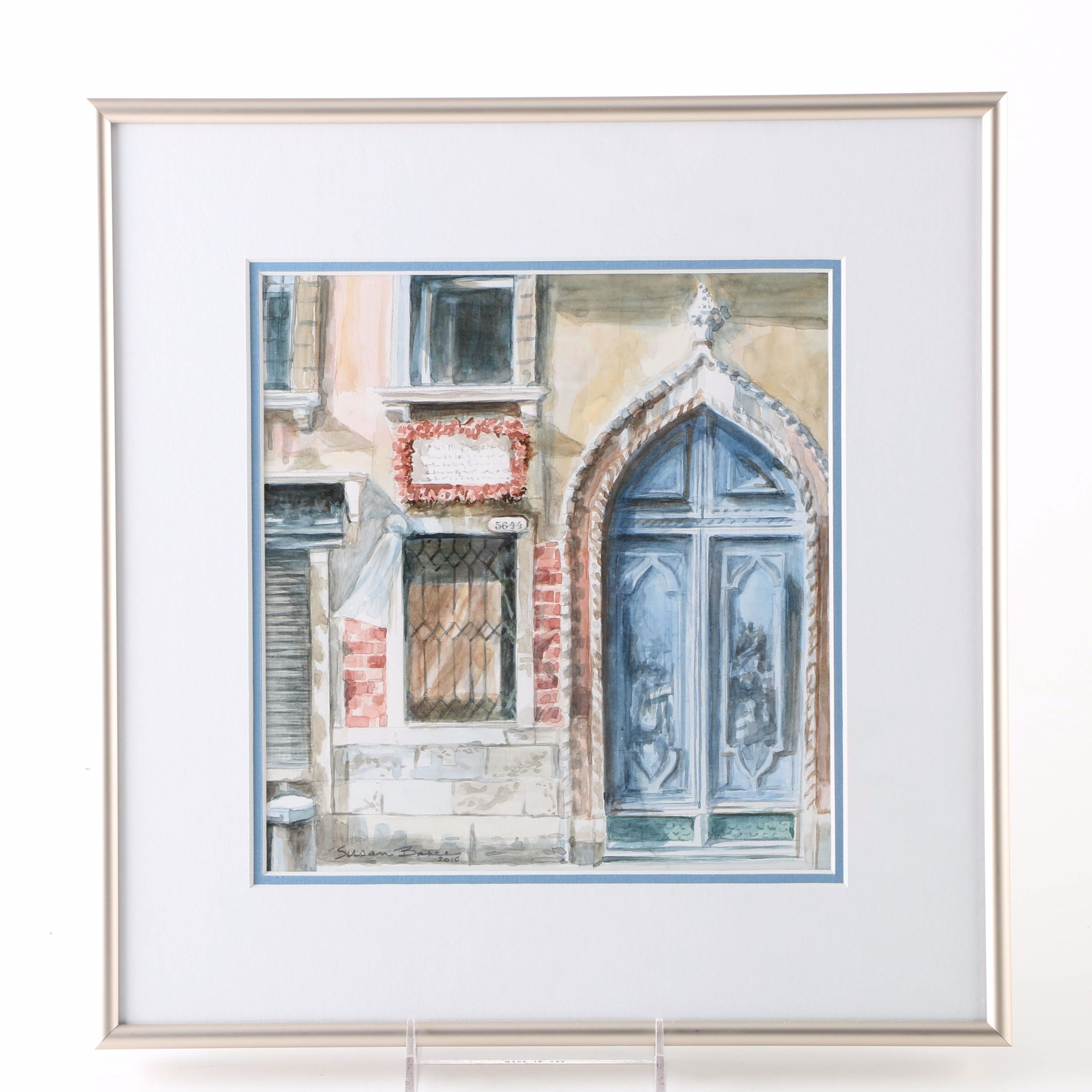 Framed Original Architectural Watercolor by Susan Baker