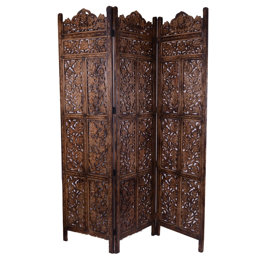 Carved Wooden Three-Panel Folding Screen