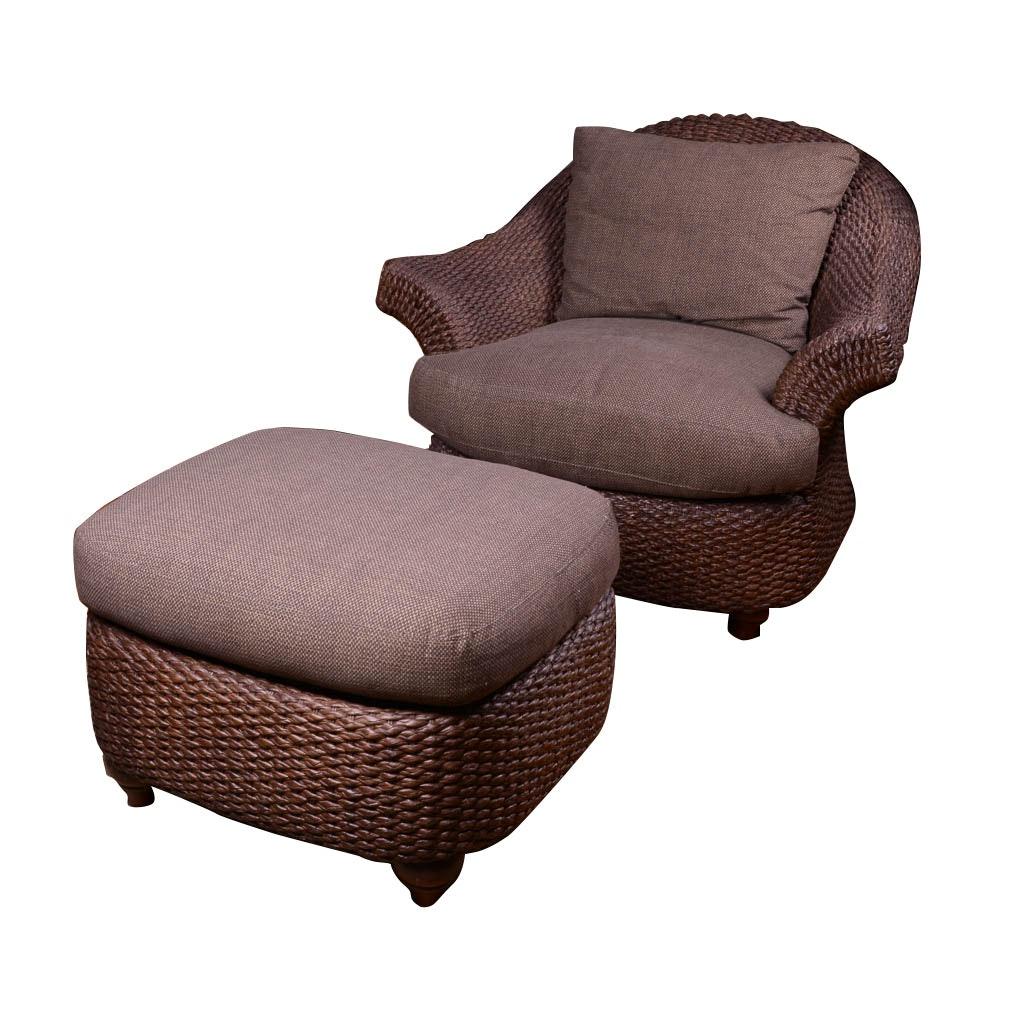 Century Furniture Rattan Chair and Ottoman