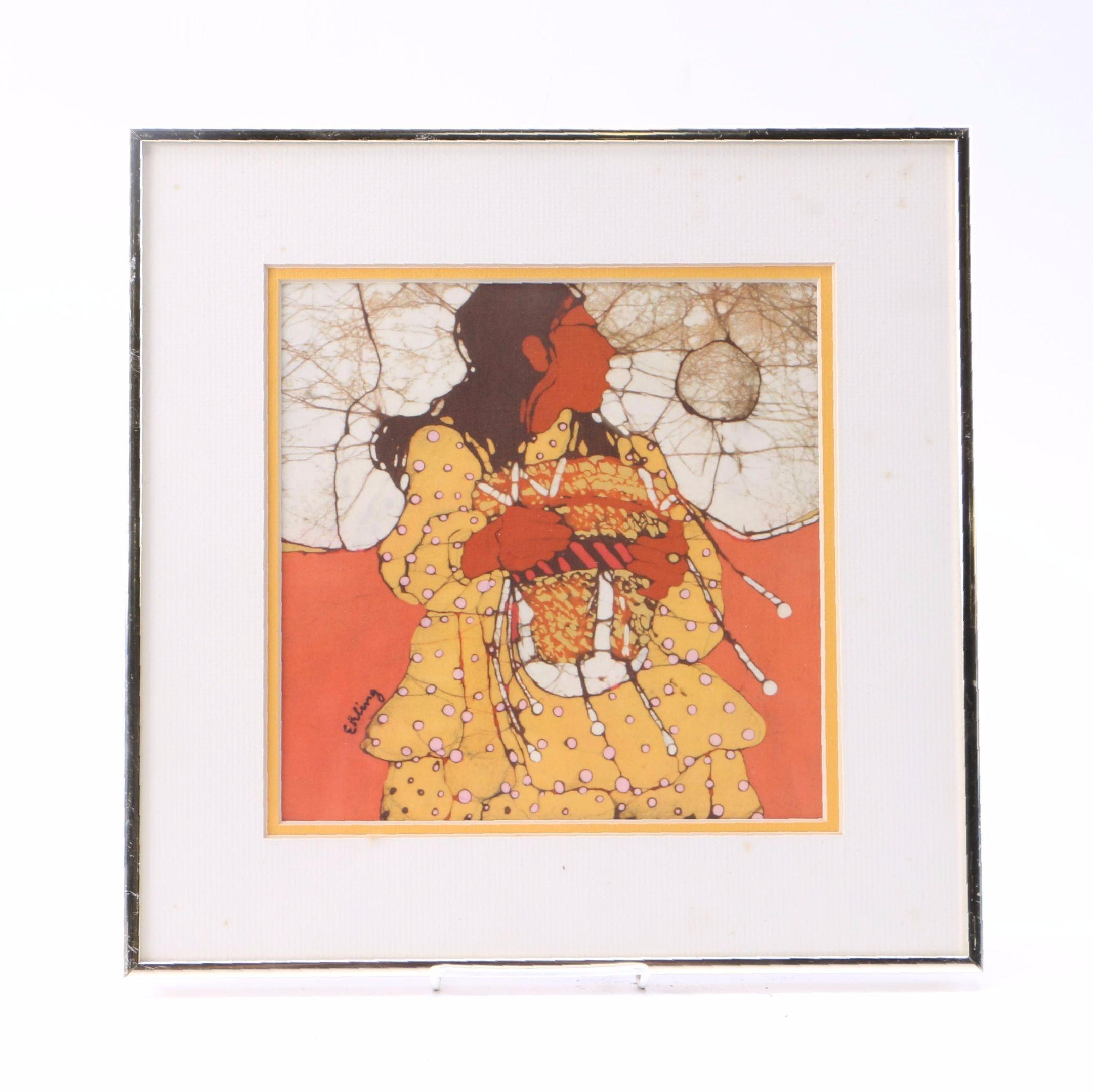 """Framed """" Girl with Burden Basket """"  Signed Batik on Cloth By Katalin Ehling"""