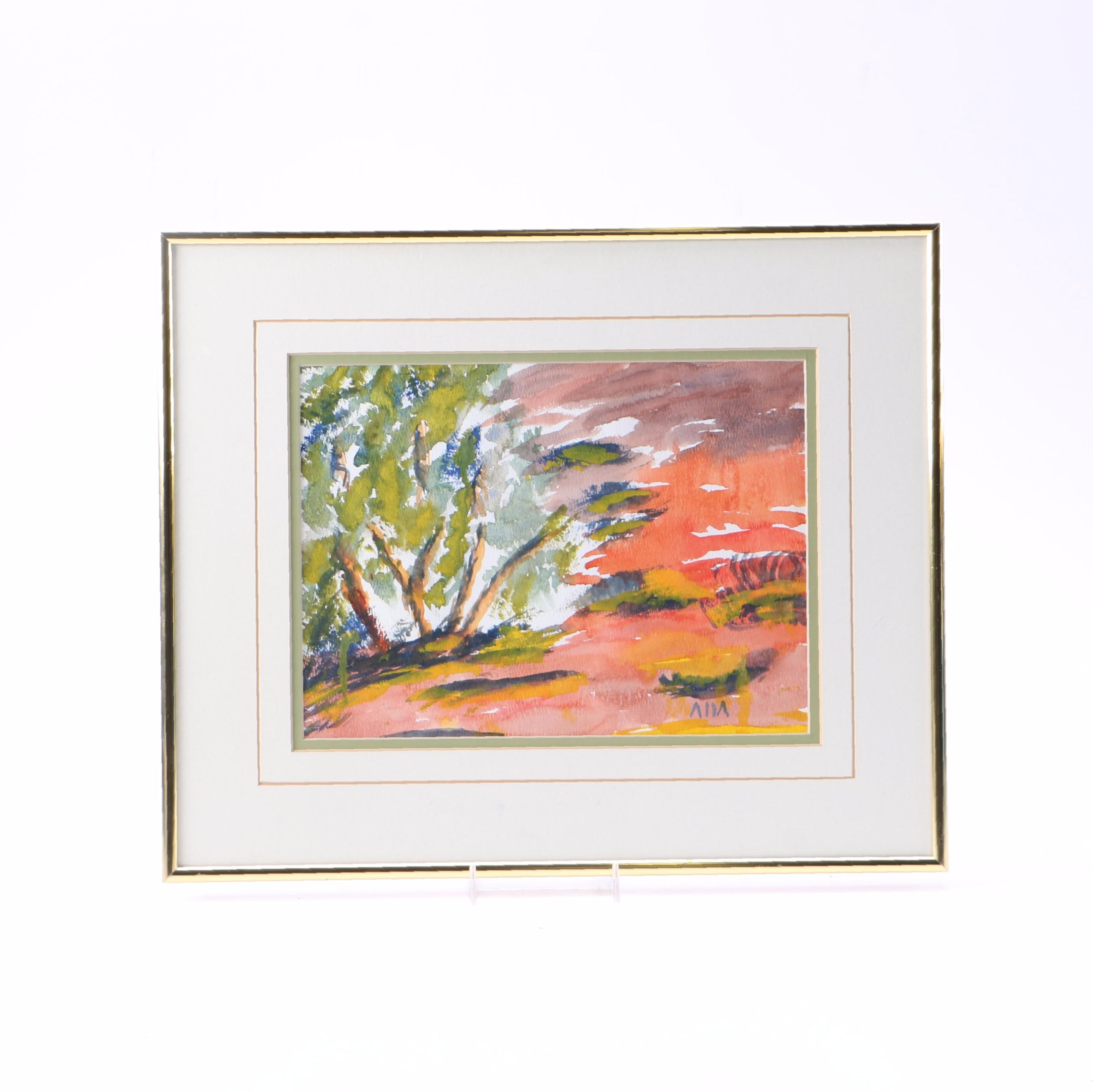 Original Watercolor of Abstract Landscape