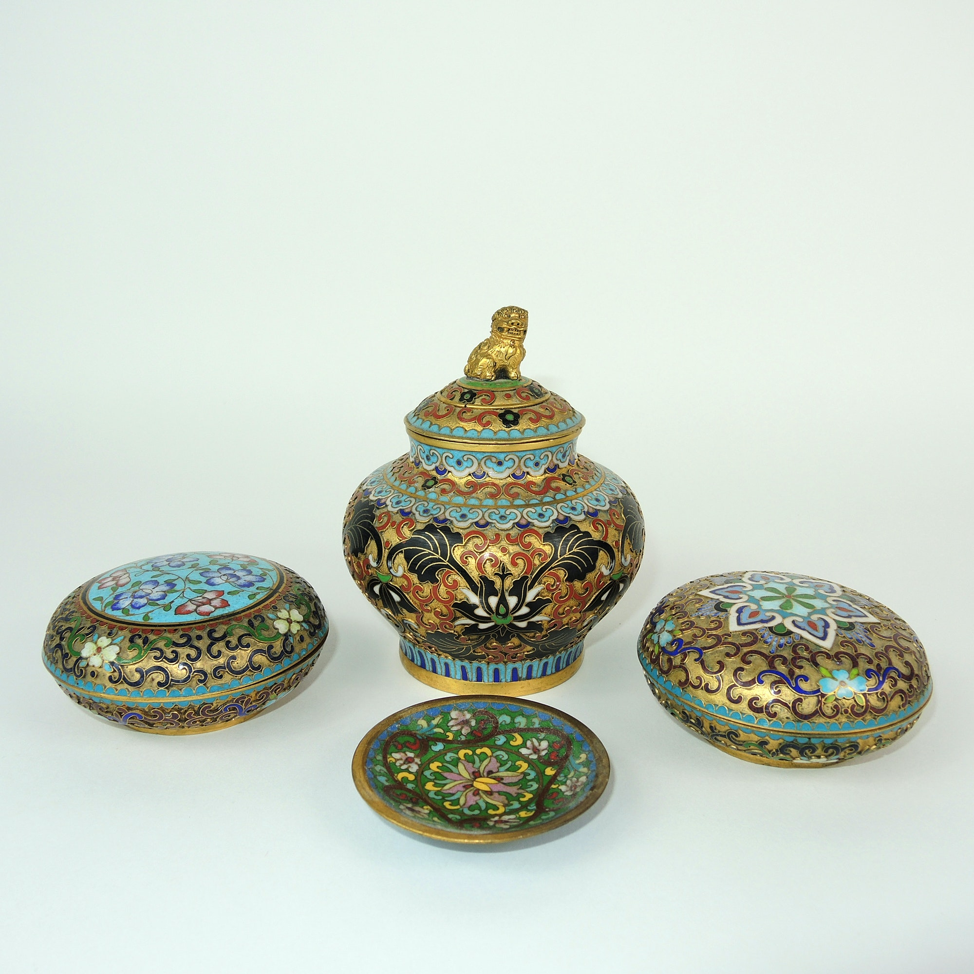 Chinese Cloisonné Lidded Urn and Dishes