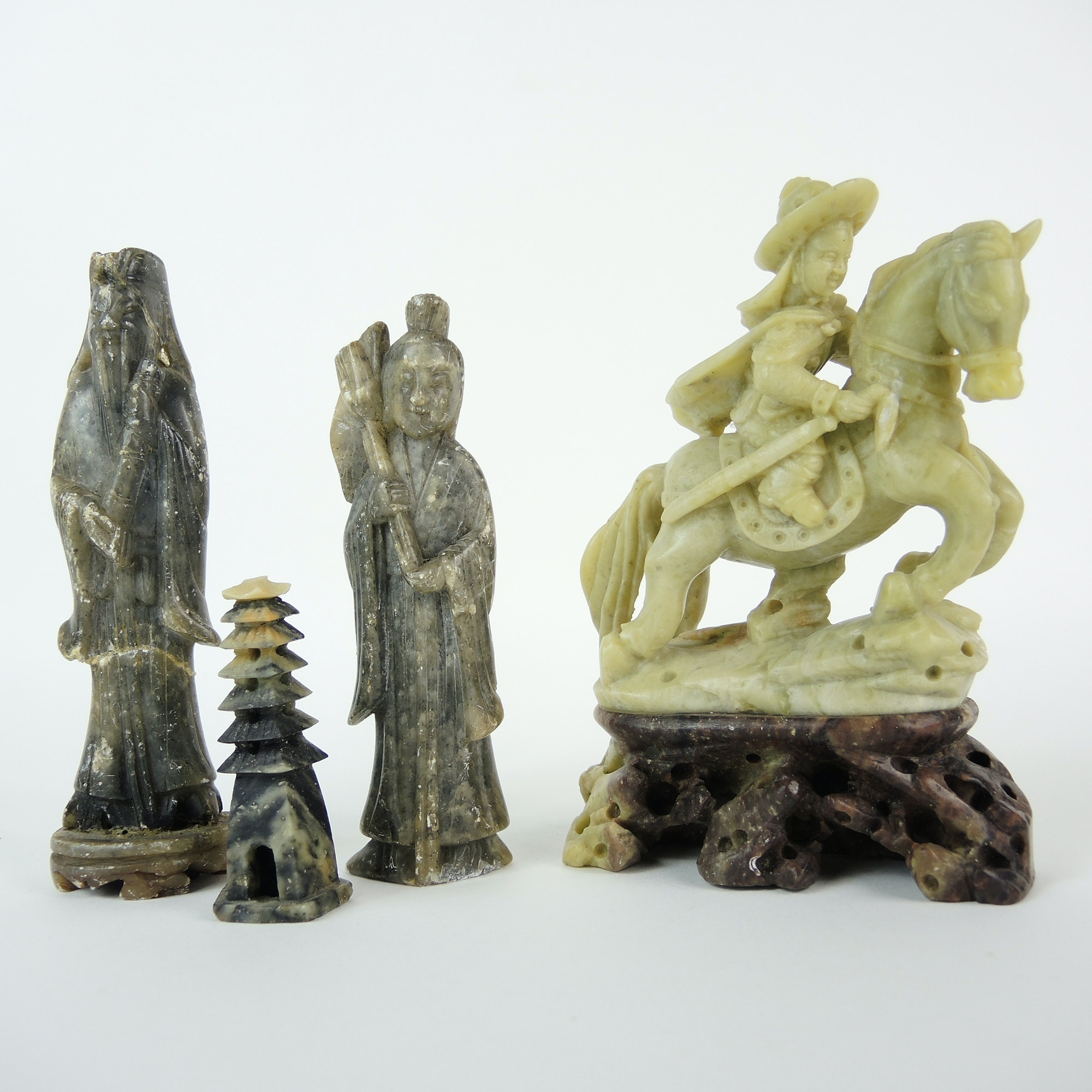 Vintage Carved Chinese Soapstone Figures