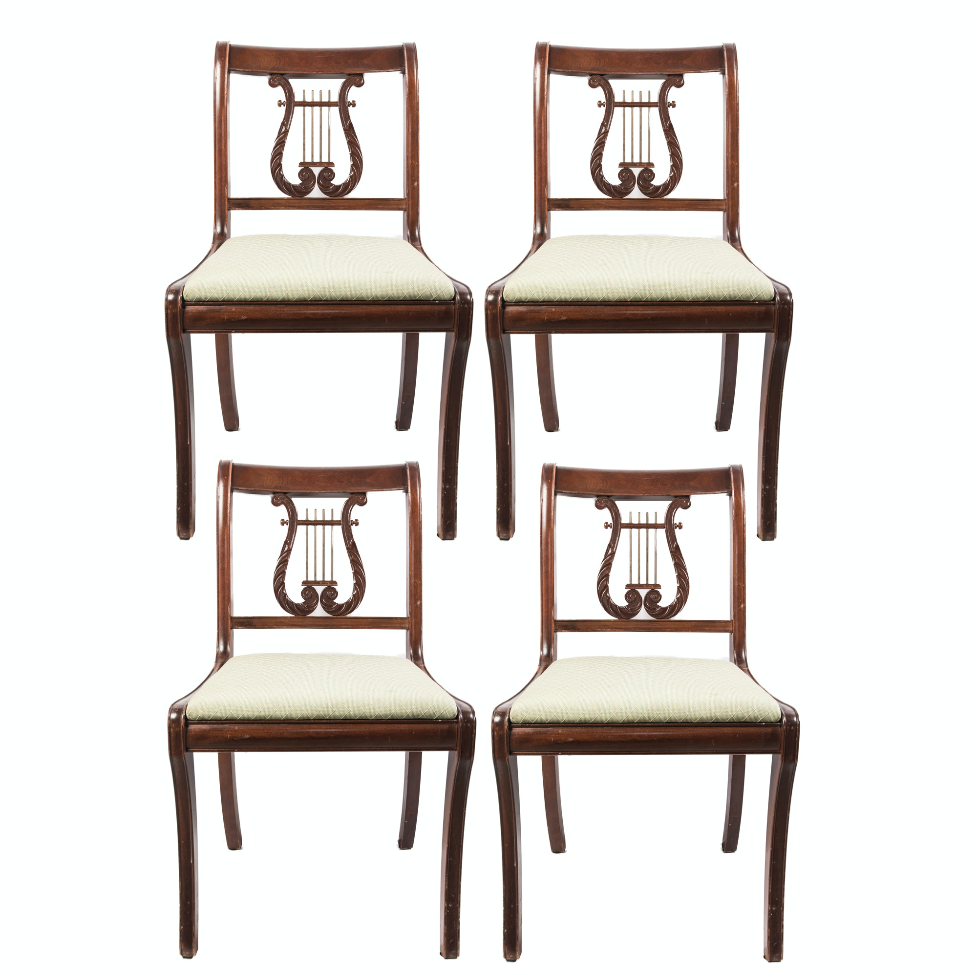 Antique Lyre Back Dining Chairs