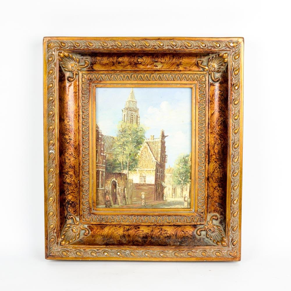 Framed Oil on Canvas Street Scene Painting