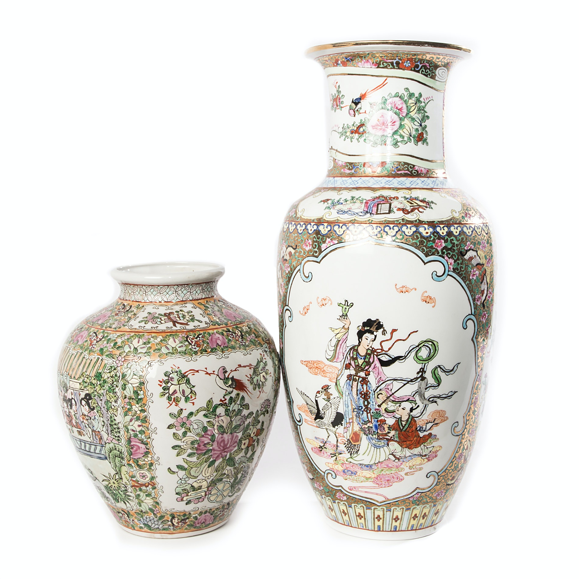 Chinese Rose Medallion Vases