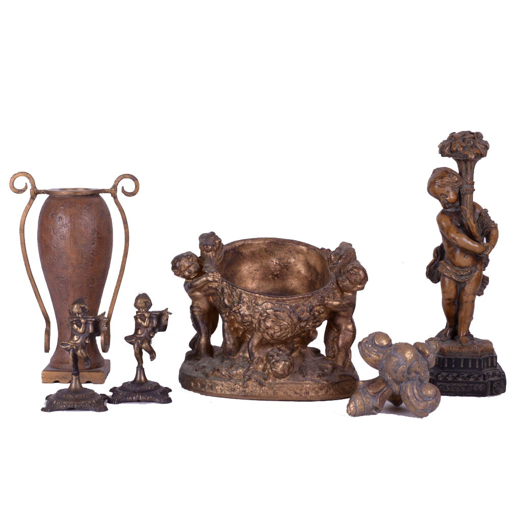 Collection of Gilded Bronze Home Decor
