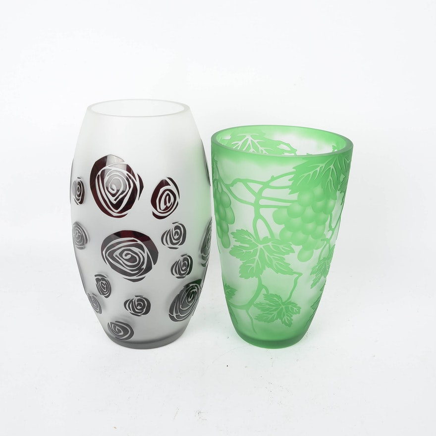 Pair Of Galle Style Frosted Glass And Etched Vases Ebth