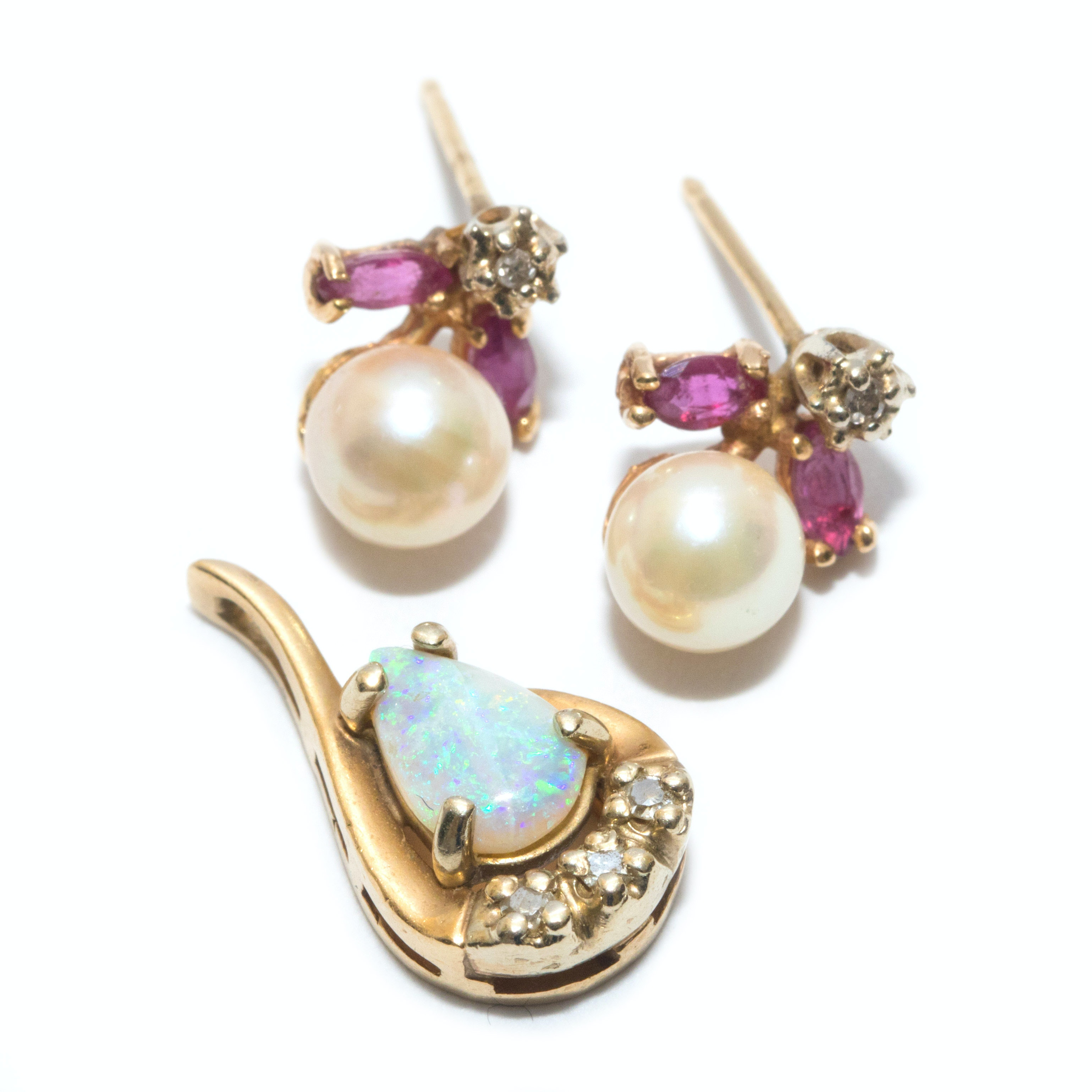 14K Yellow Gold Opal Pendant and Cultured Pearl Earrings with Diamonds and Rubies