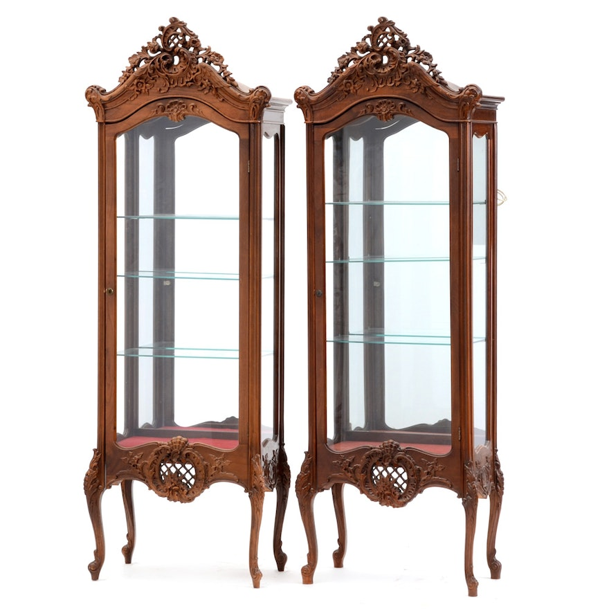 Pair of French Louis XV Style Curio Cabinets ... - Pair Of French Louis XV Style Curio Cabinets : EBTH