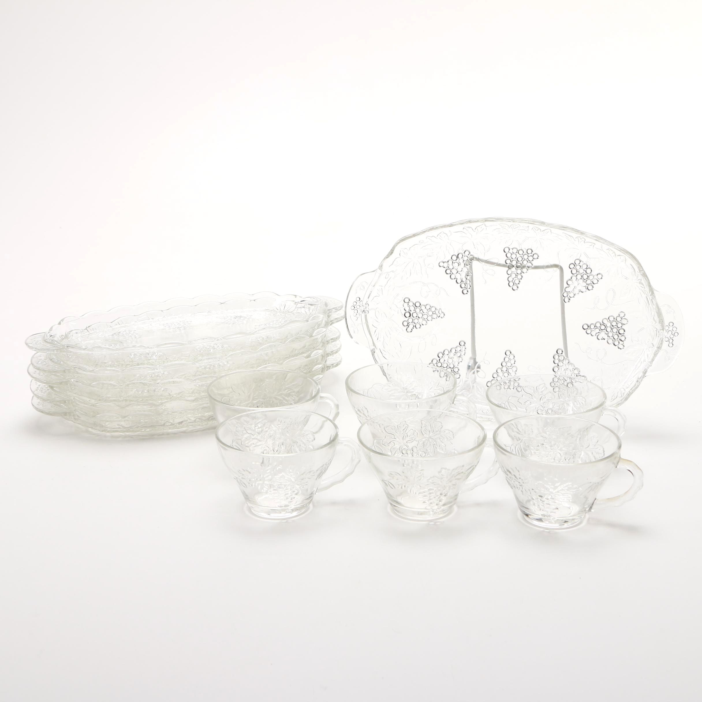 Glass Luncheon Trays and Cups