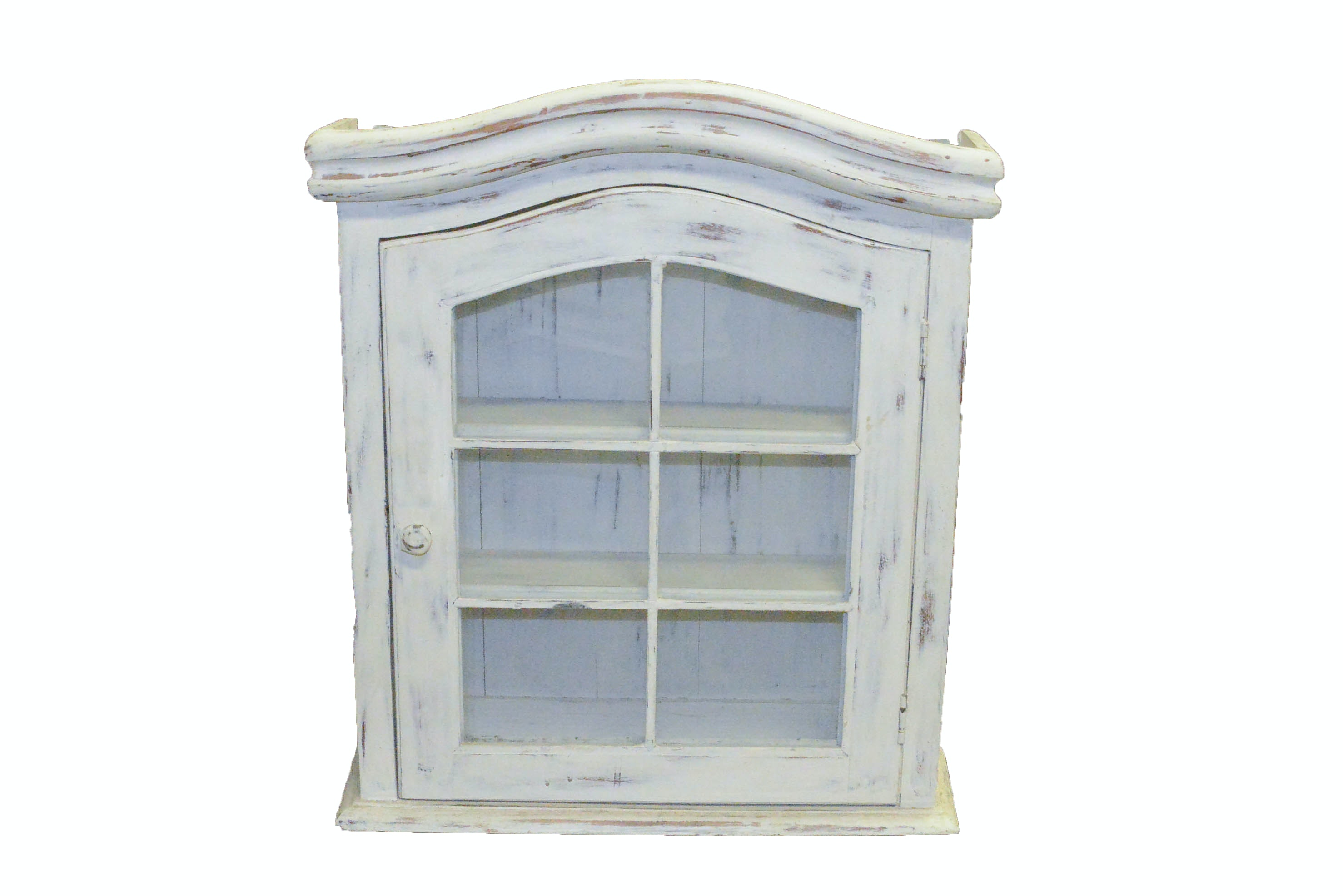 Small Distressed Wooden Display Cabinet