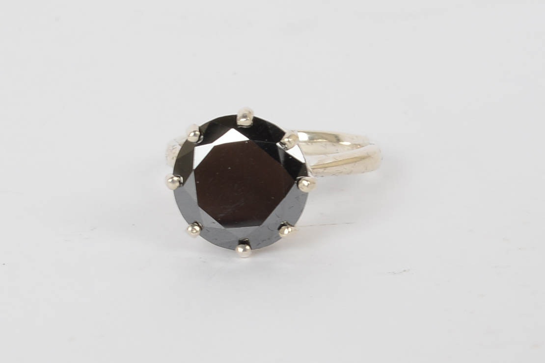 4.08 CTS Black Diamond and Sterling Silver Ring