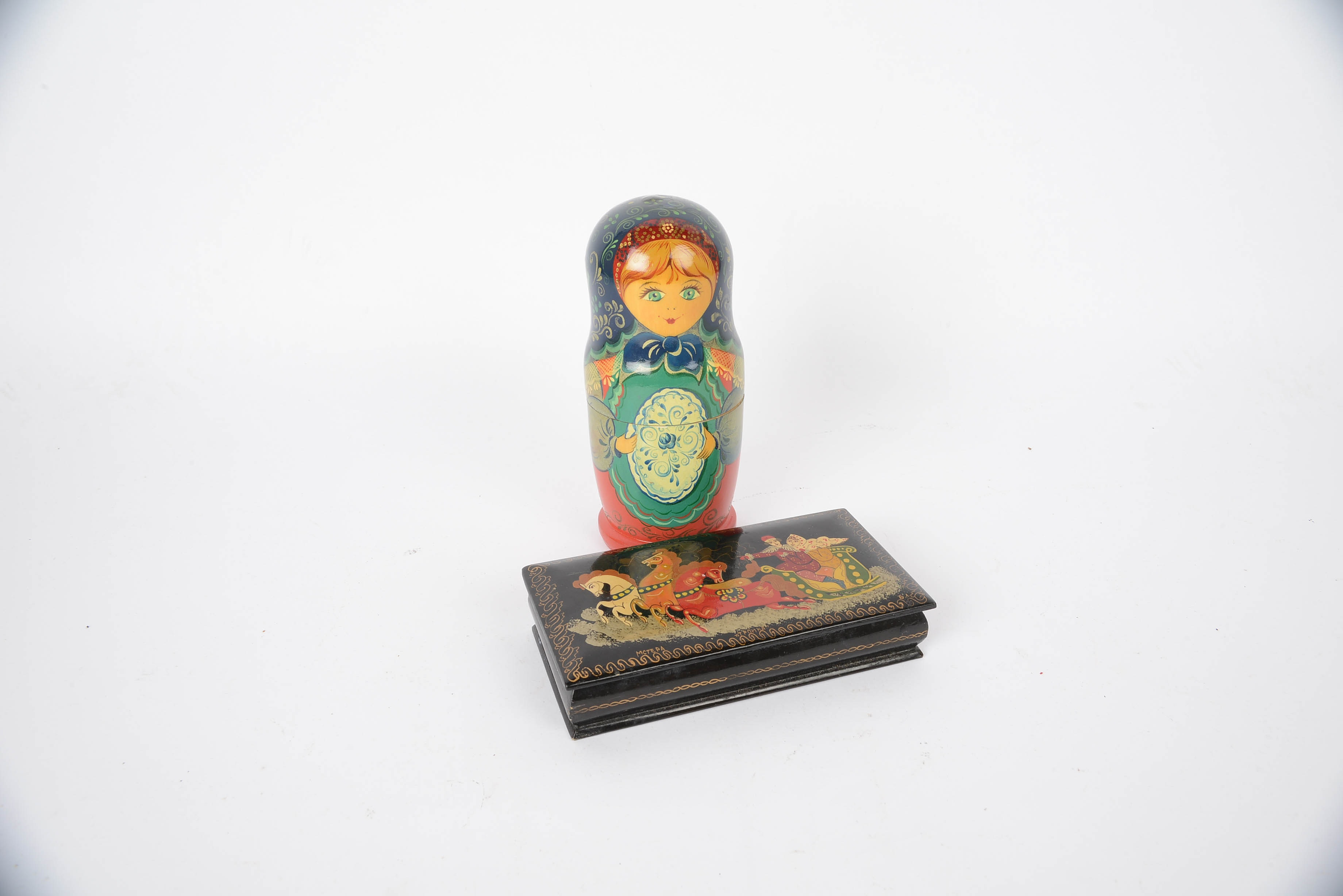 Russian Hand Painted Lacquered Wooden Box and Nesting Boxes