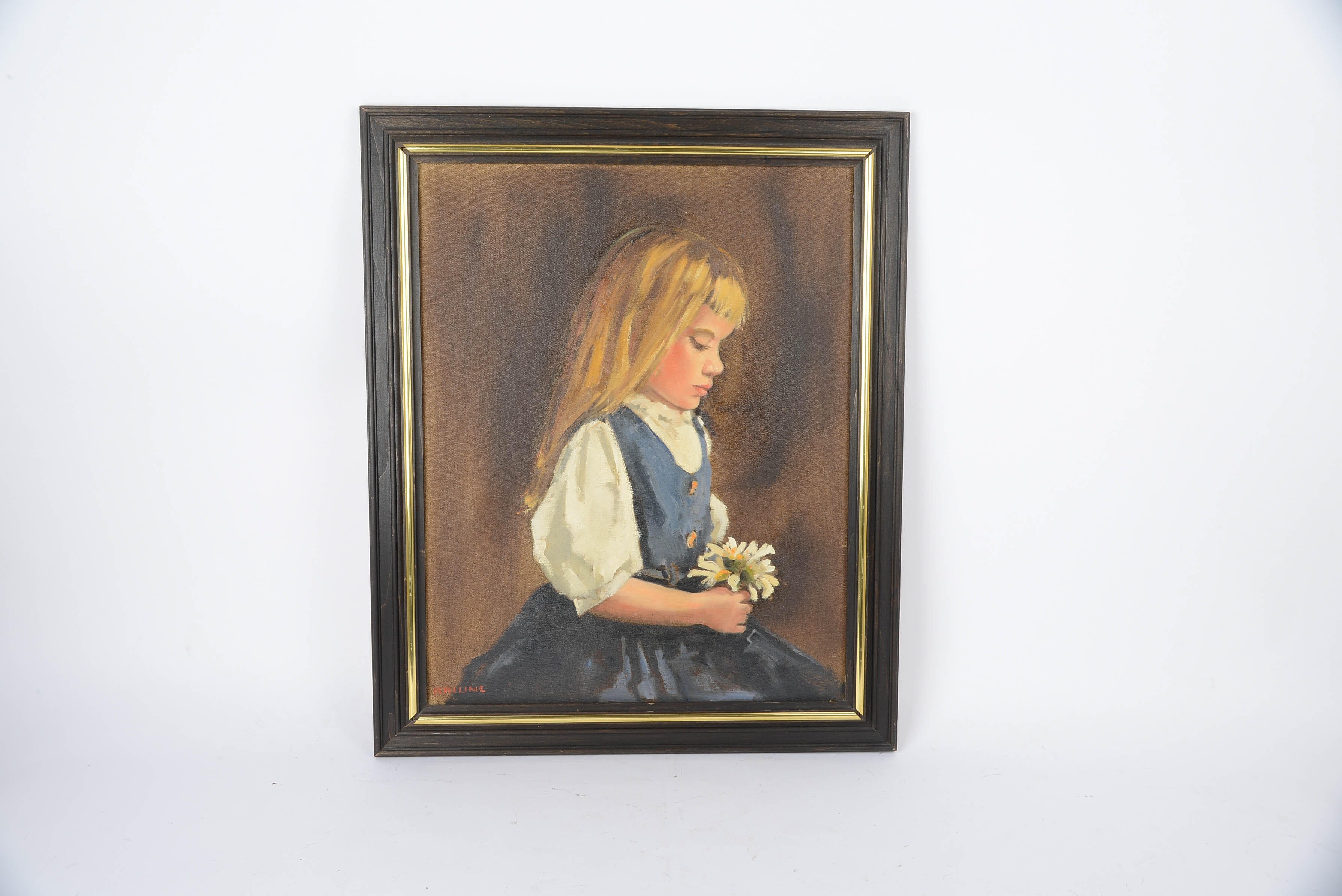Vintage Oil on Canvas of Girl by Malone