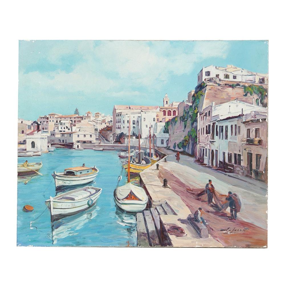 20th-Century Oil Painting on Canvas of European Harbor Scene
