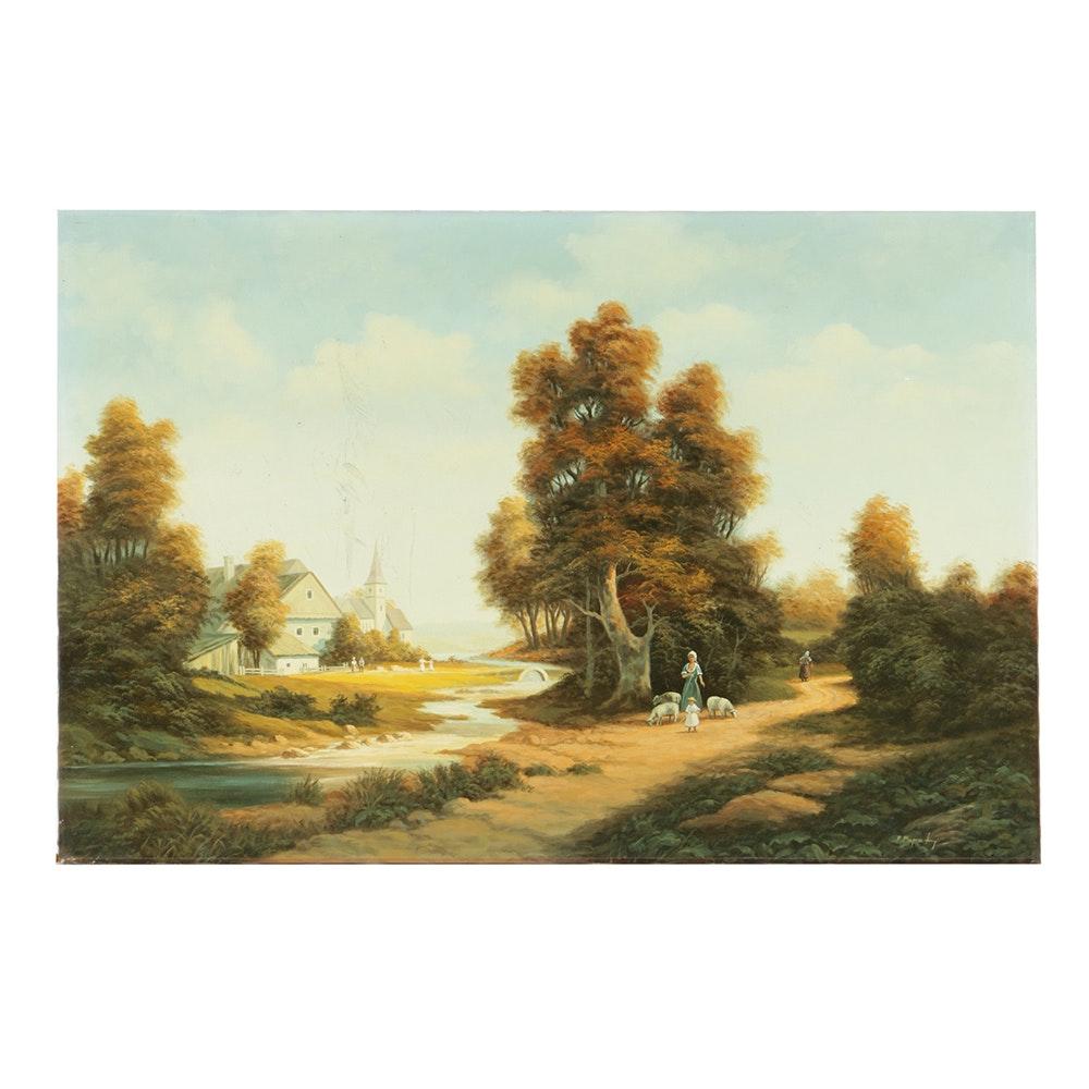 Philipp Papst Oil Painting on Canvas Rural Landscape Scene