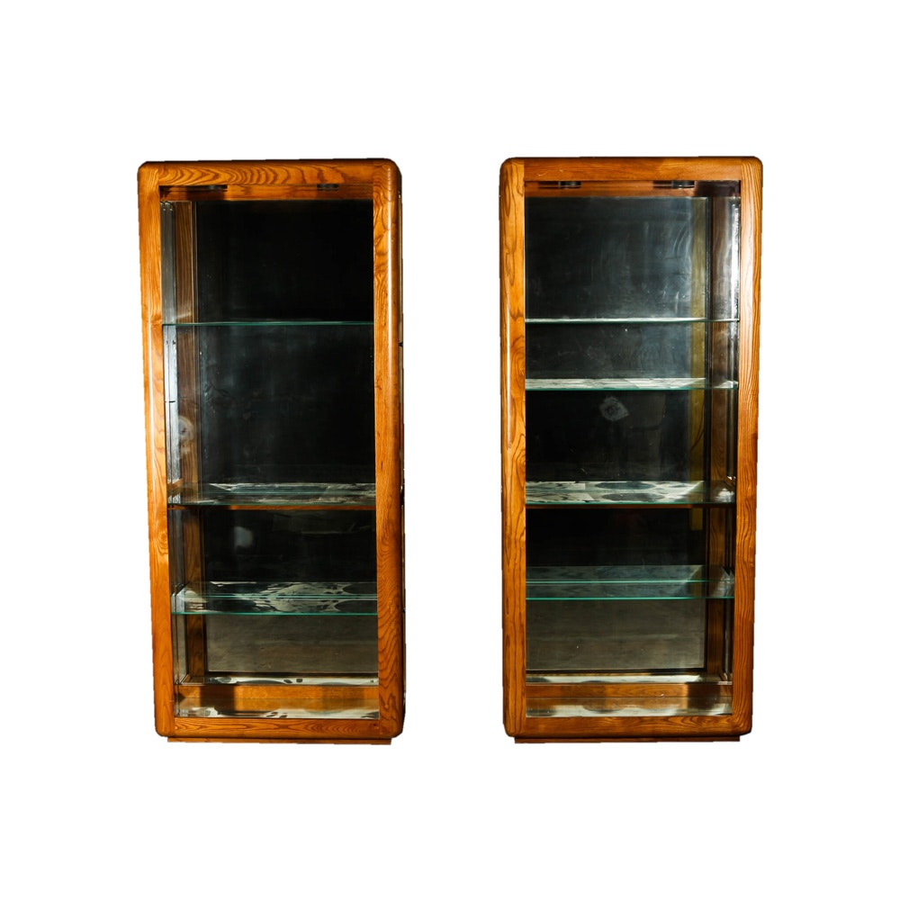 Pair of Oak Lighted Display Cabinets